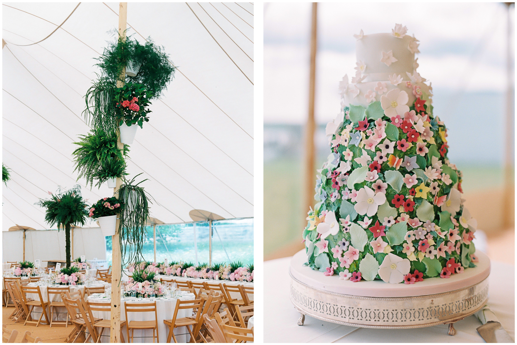 glamping wedding, Lucy Davenport Photography, home wedding, Sperry tent, PapaKata, ferns, greenery, cake, wedding cake