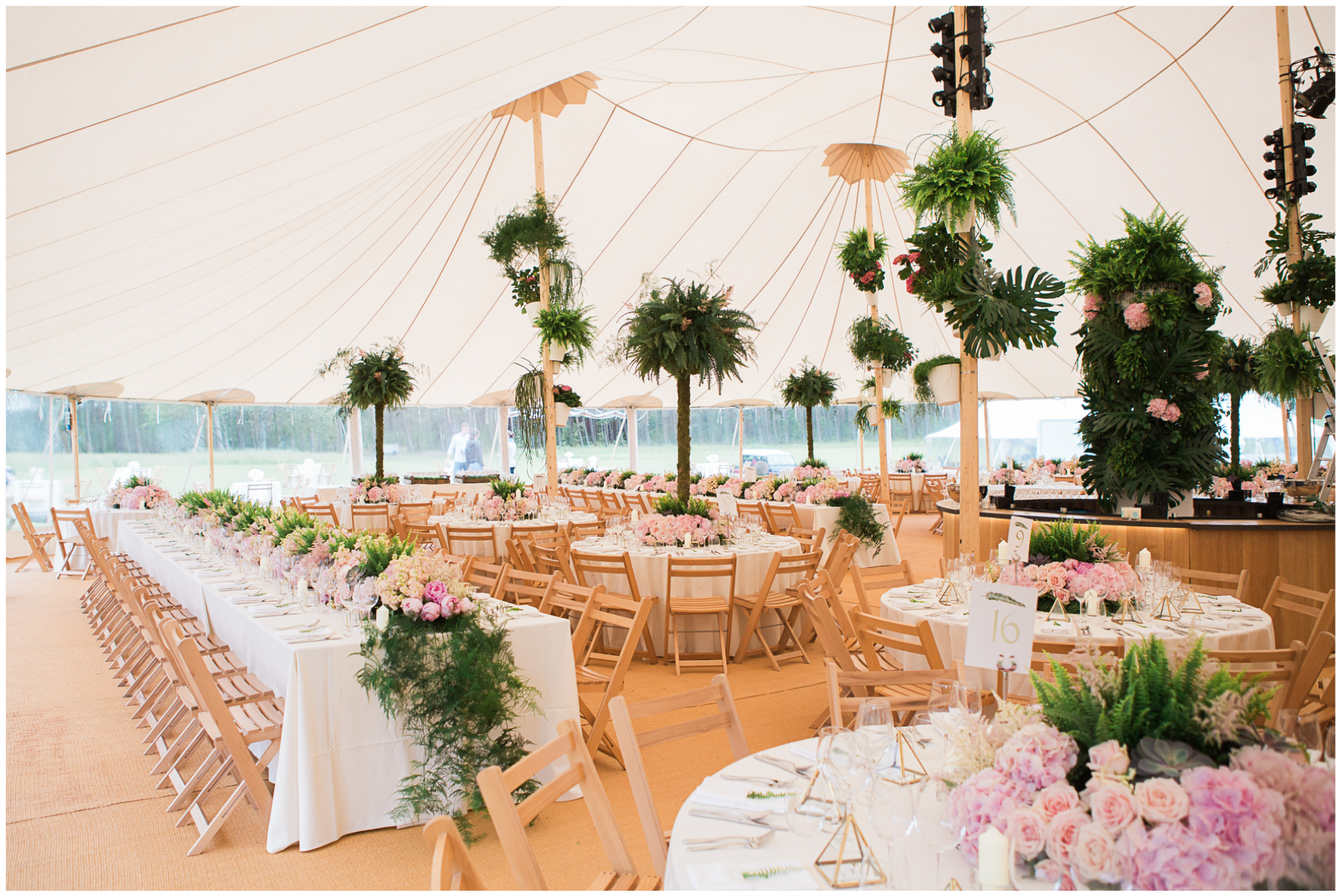 glamping wedding, Lucy Davenport Photography, home wedding, Sperry tent, PapaKata, ferns, greenery, pinks, florals