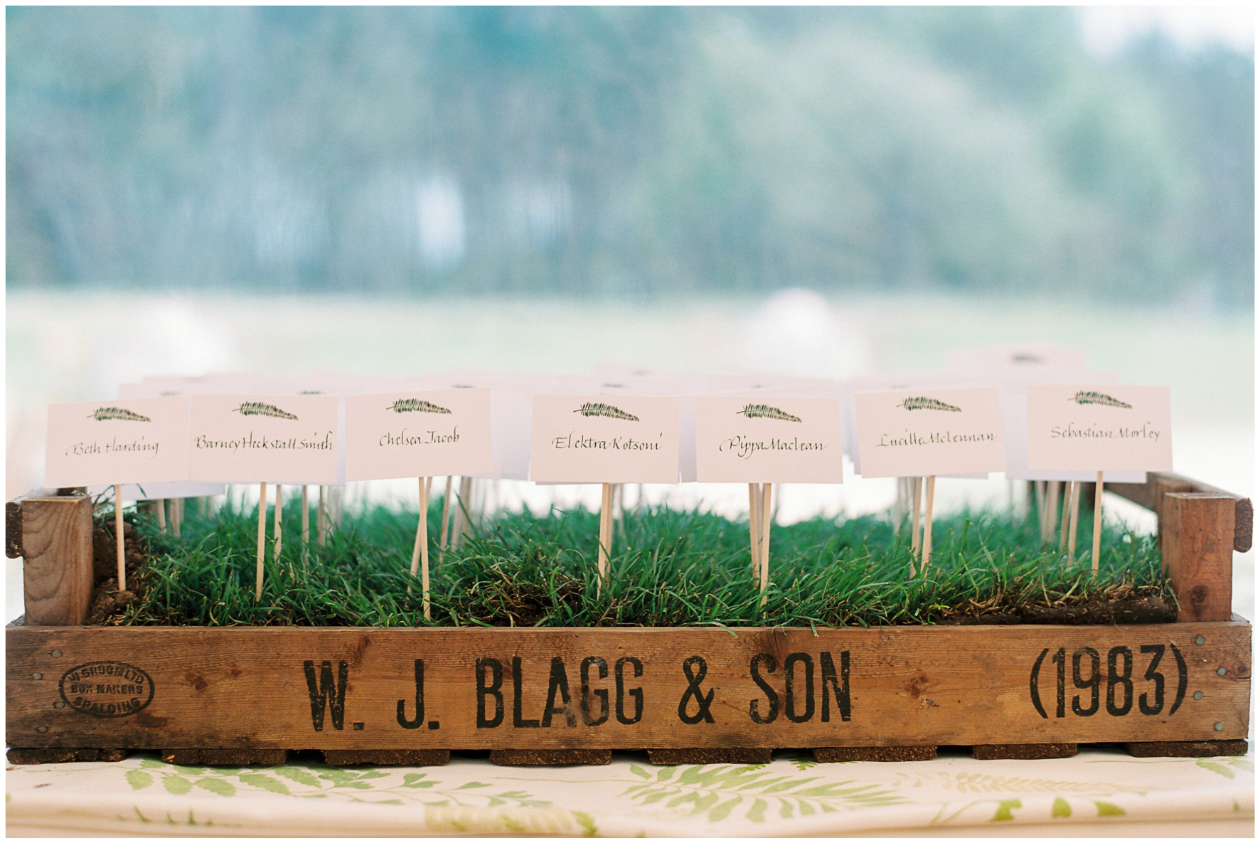 glamping wedding, Lucy Davenport Photography, home wedding, Sperry tent, PapaKata, escort cards, greenery