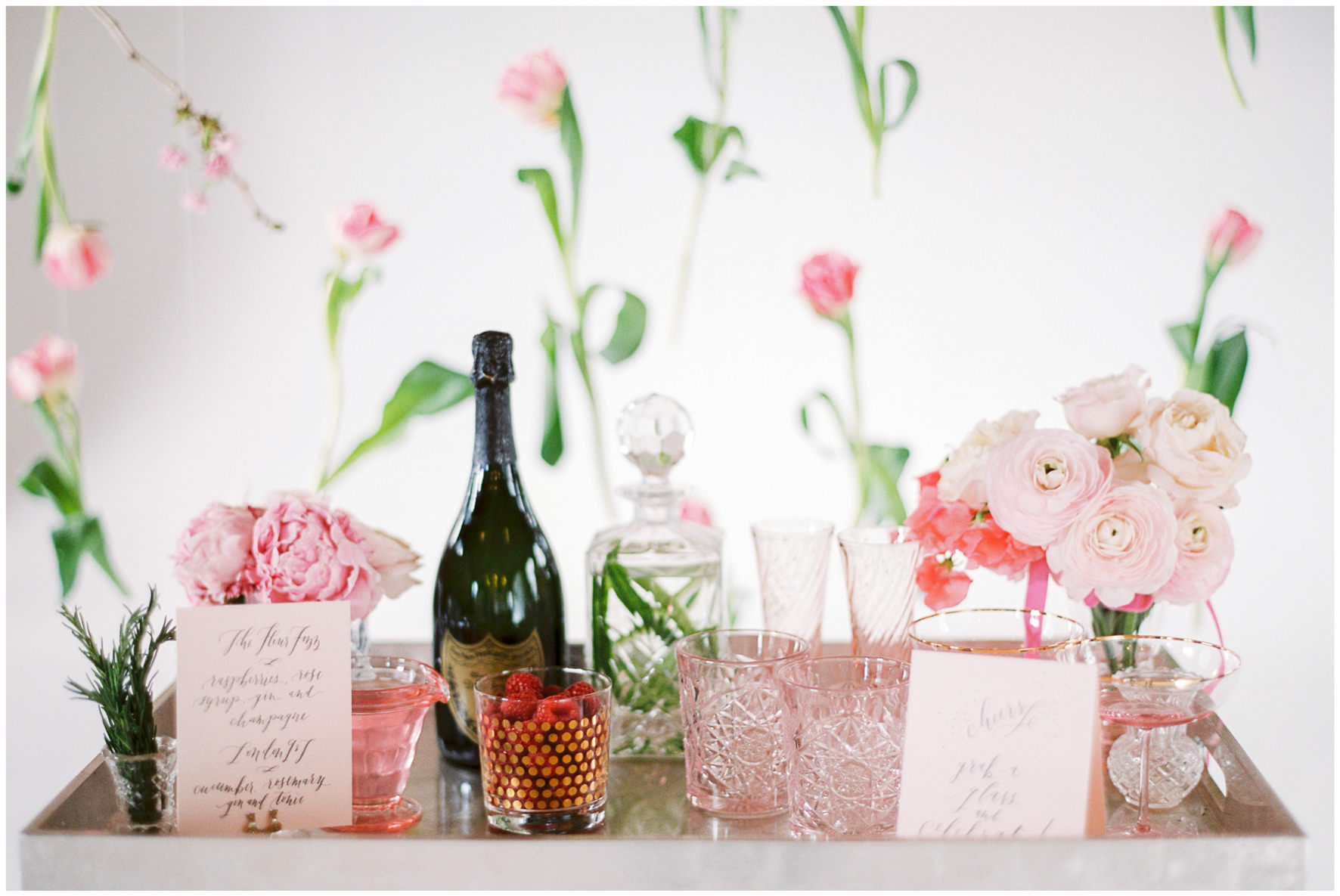 Lucy Davenport Photography, Loft Studios, Rebecca K Events, bar, soft pink, suspended florals, personalised bar, cocktails,