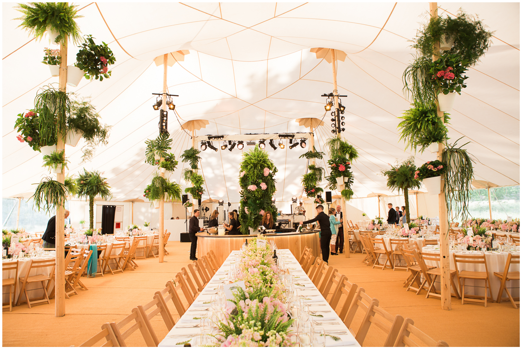 glamping wedding, Lucy Davenport Photography, home wedding, Sperry tent, PapaKata, ferns, greenery
