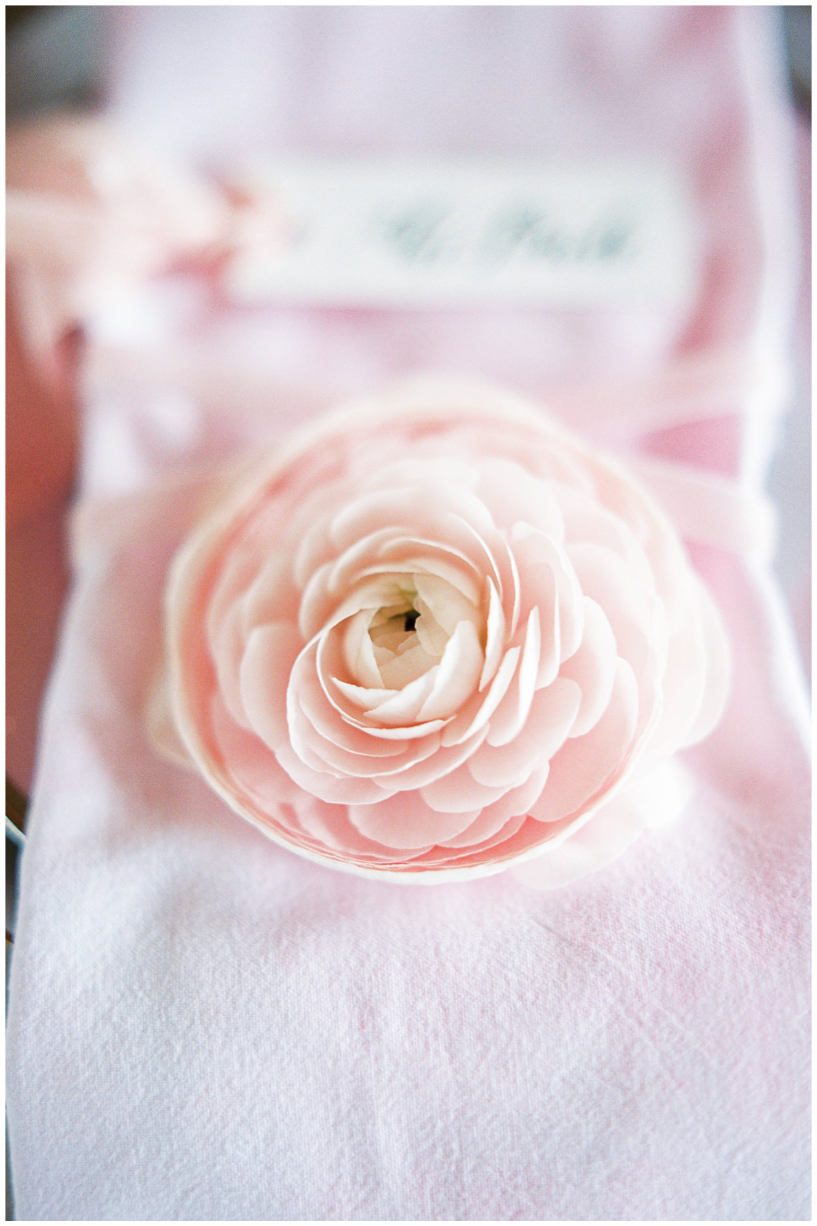 Lucy Davenport Photography, Loft Studios, Rebecca K Events, tablescape, soft pink, place setting, name place, floral detail