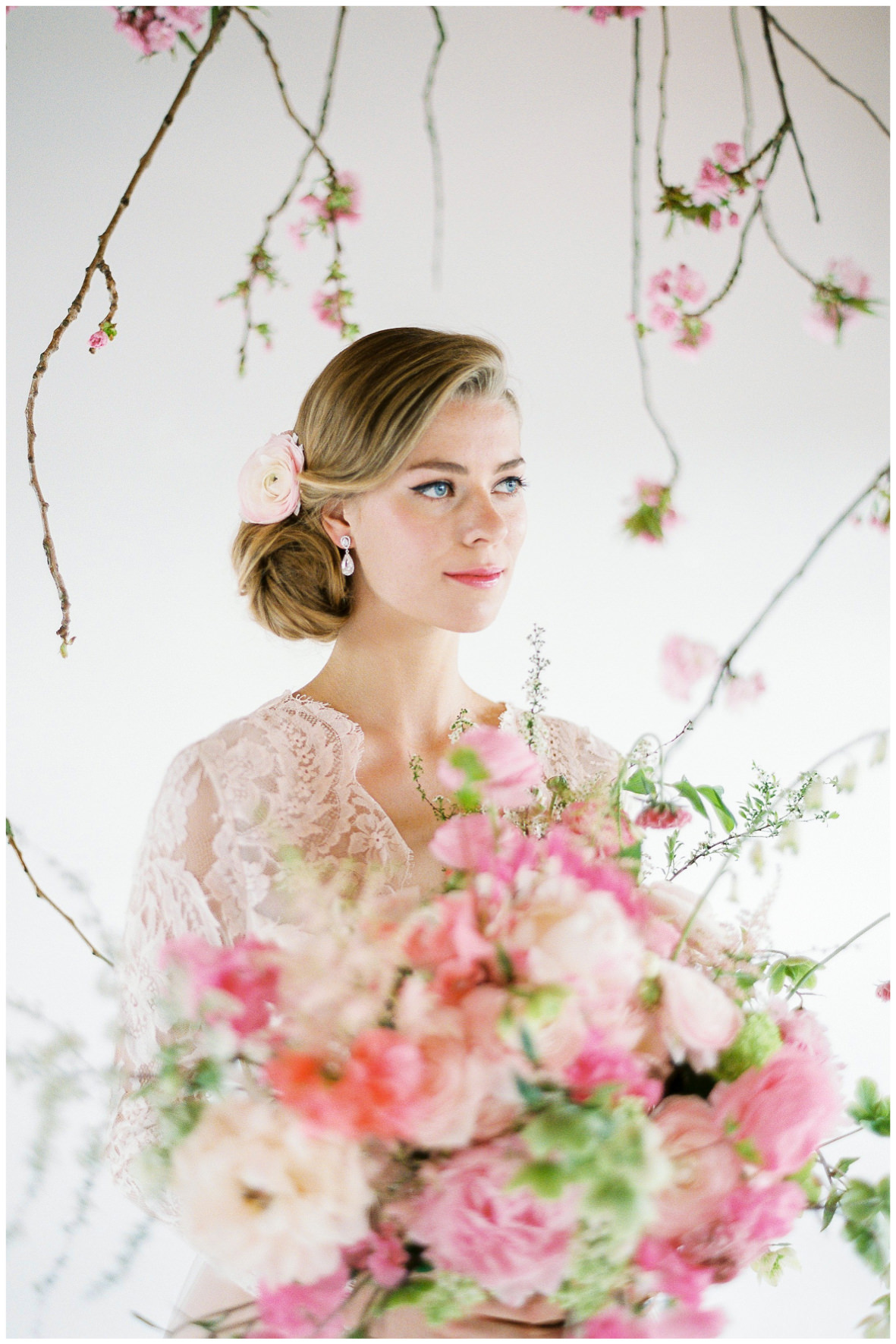Lucy Davenport Photography, Loft Studios, Rebecca K Events, lace wedding gown, soft pink, suspended florals