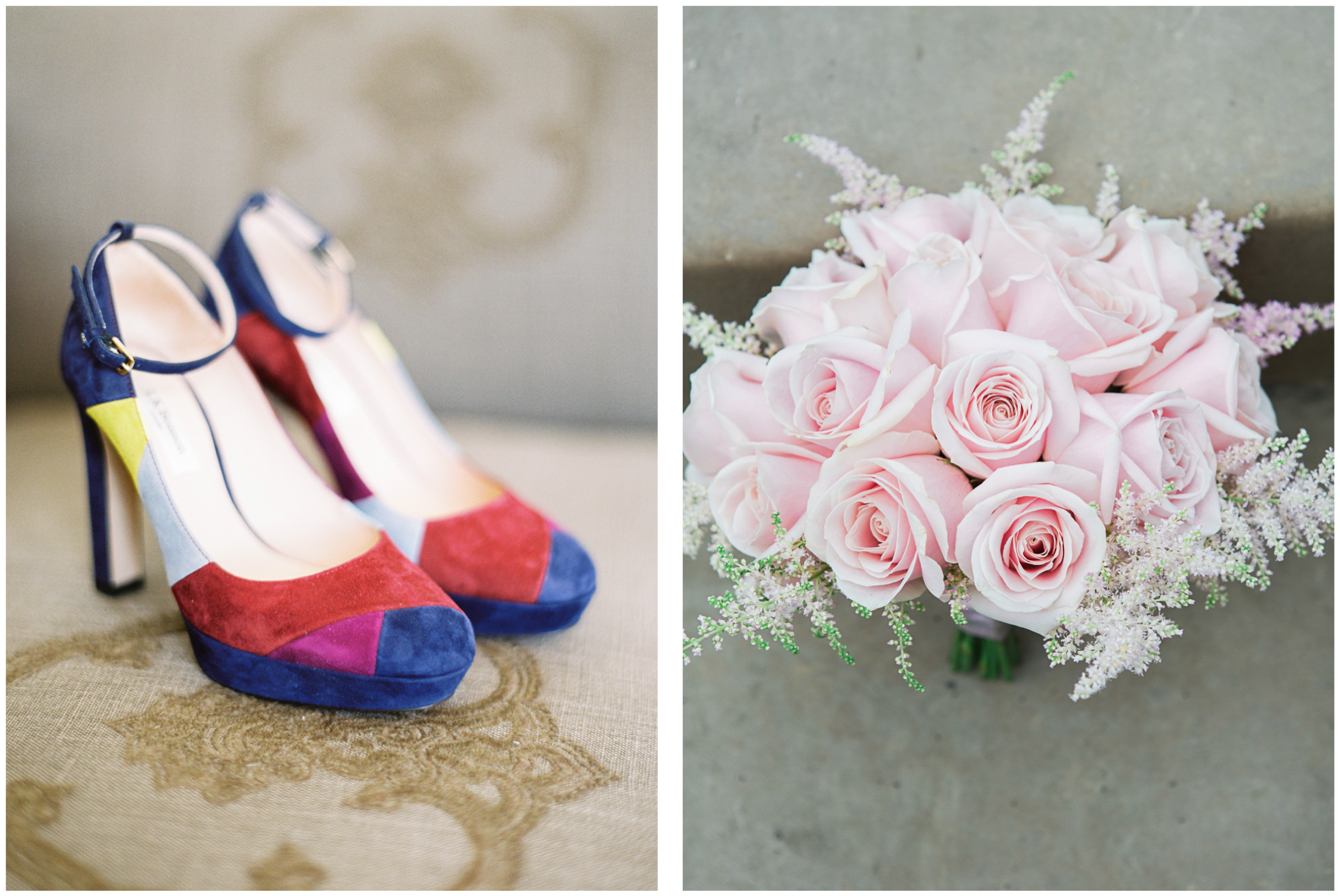 LK Bennett coloured wedding shoes, rose floral bouquet
