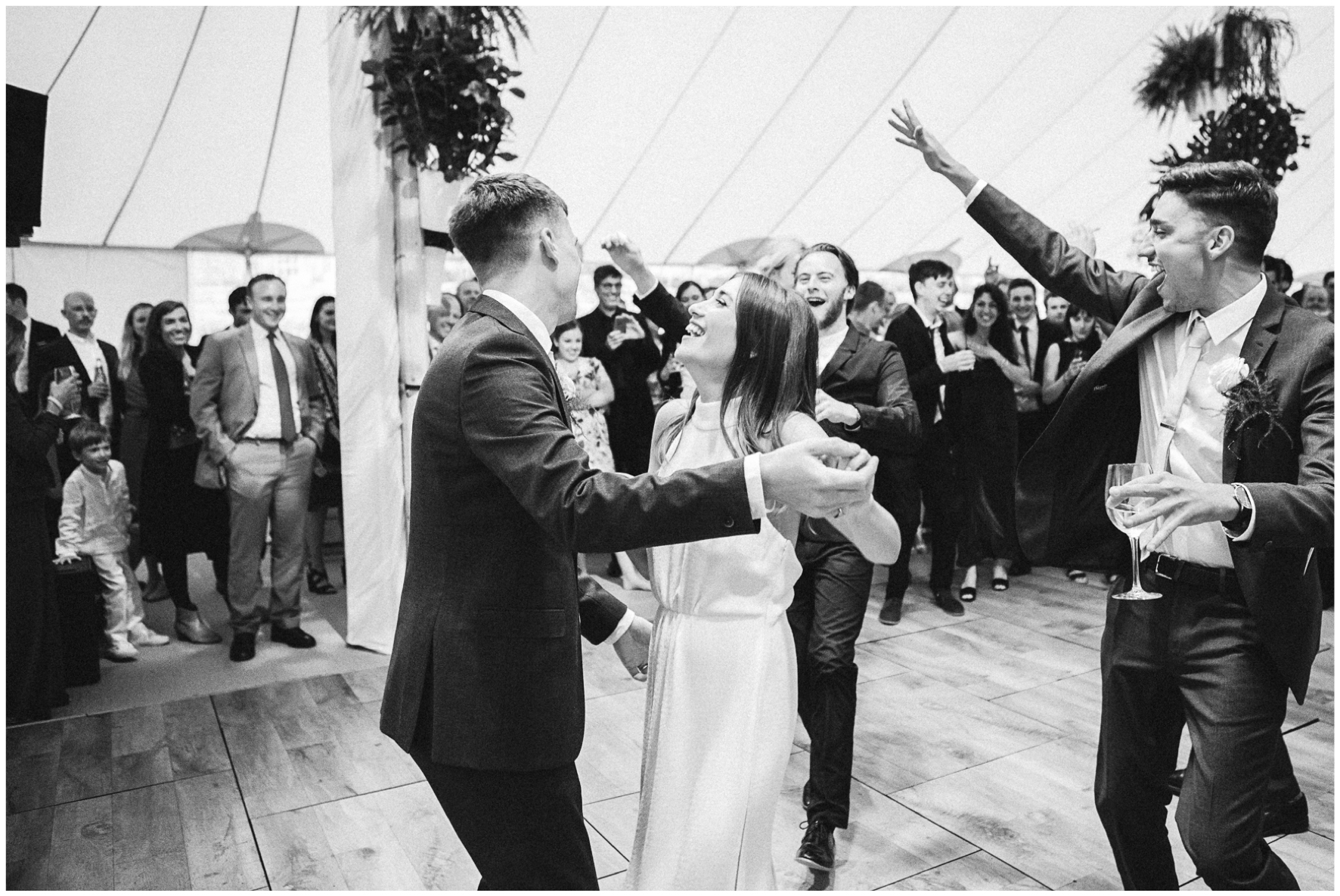 glamping wedding, Lucy Davenport Photography, home wedding, Sperry tent, PapaKata, first dance, bride and groom