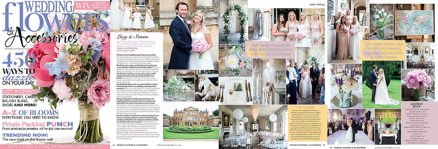Aynhoe Park, real wedding, bride, groom, Wedding Flowers magazine, publication, Lucy Davenport Photography