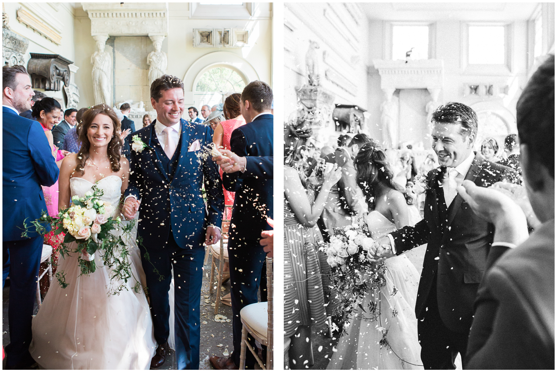 Aynhoe Park wedding ceremony, confetti
