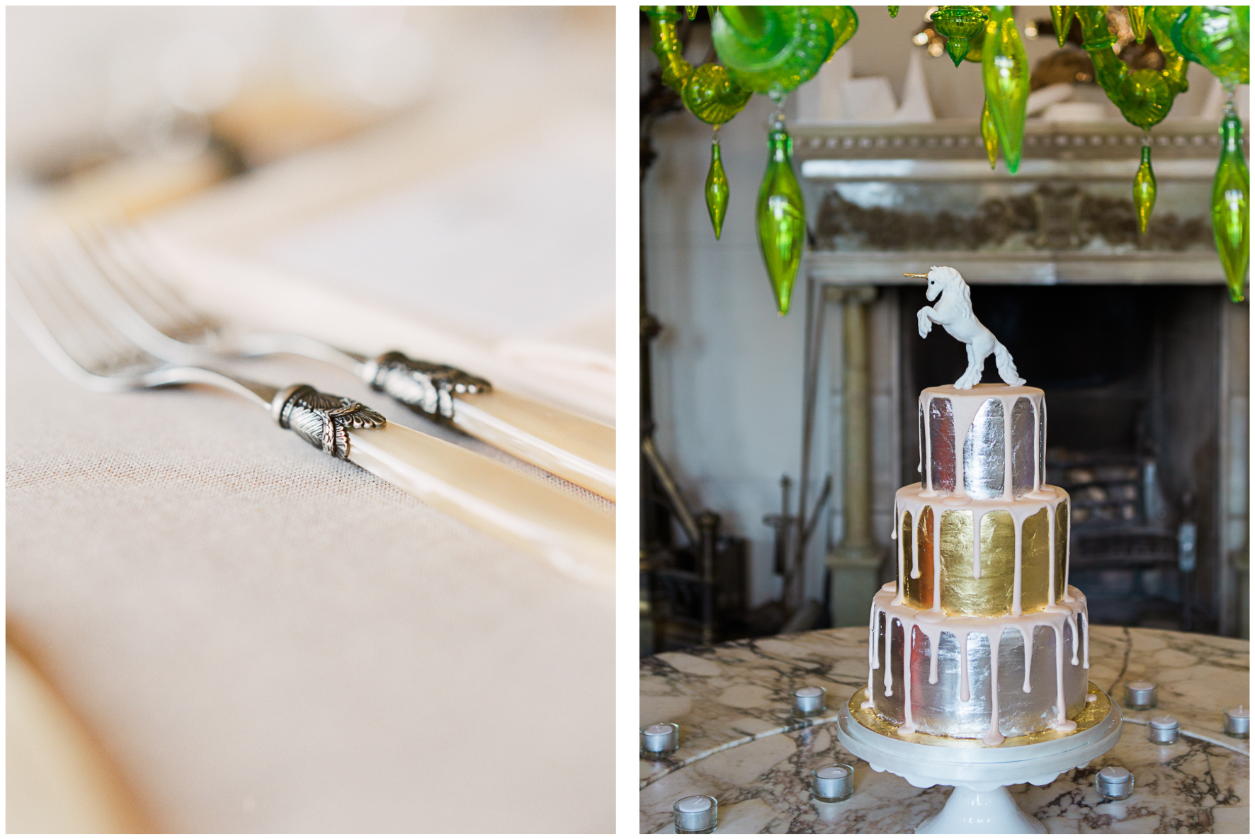 silver and gold wedding cake, metallic wedding cake, antique cutlery