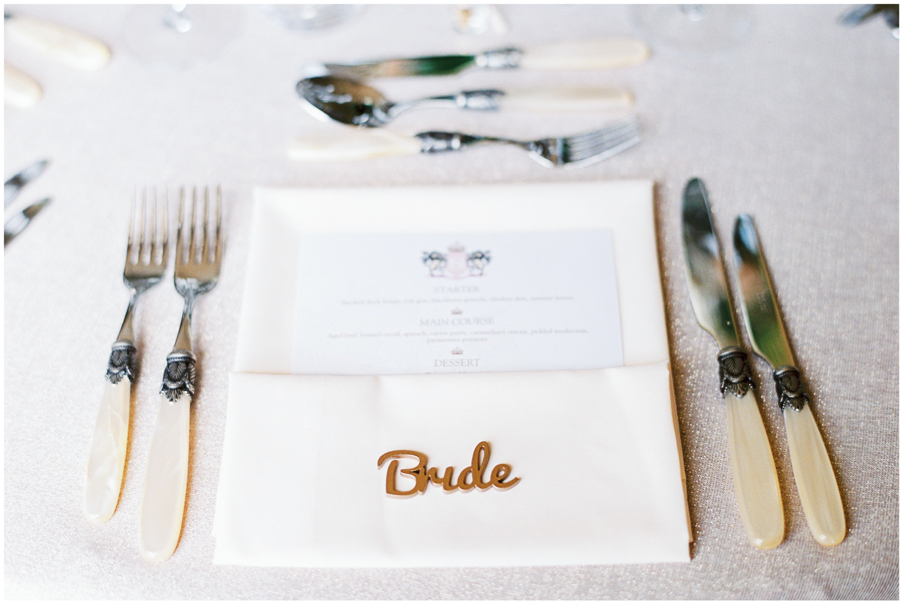 place setting, personalise bride name tag