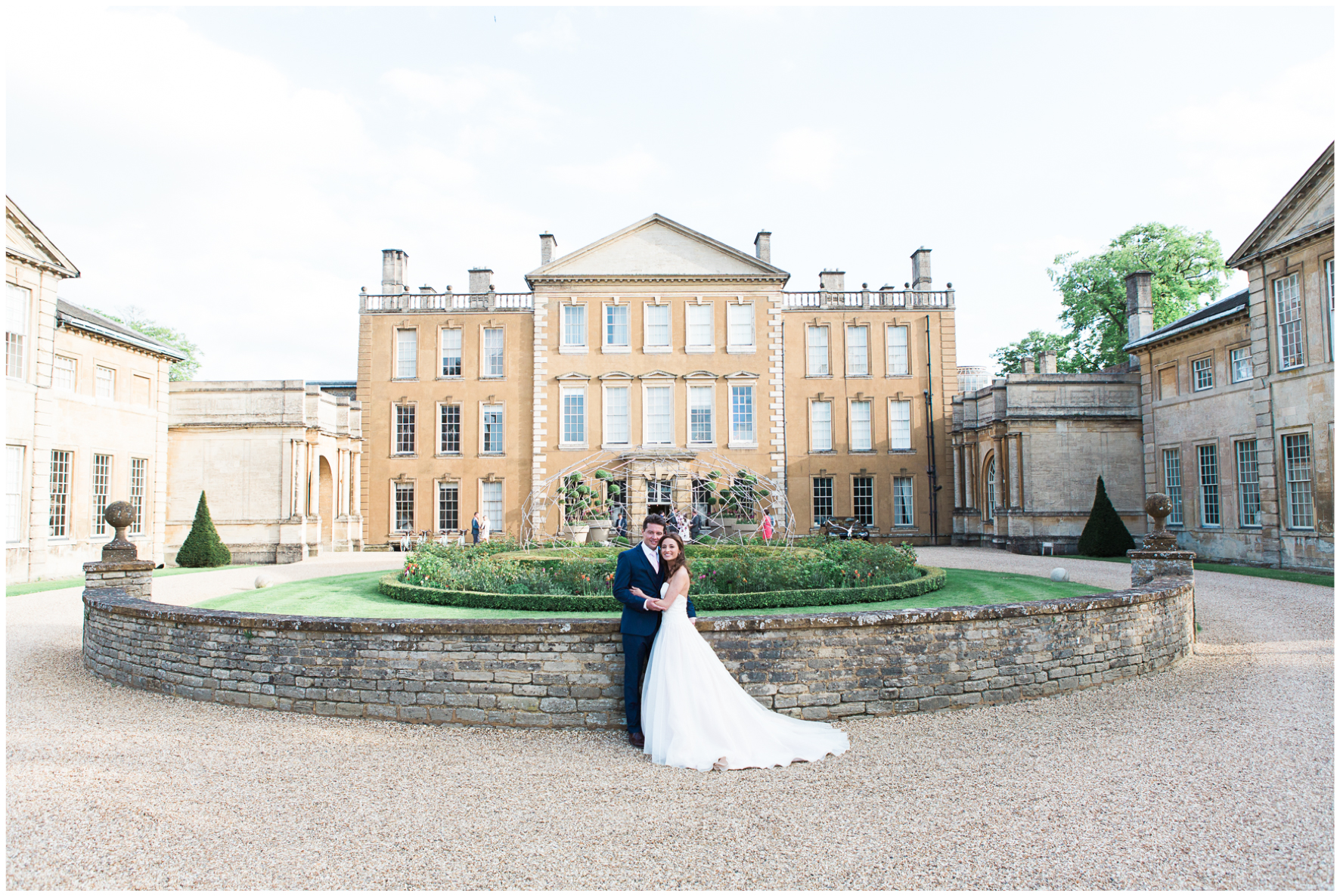 Aynhoe Park, bride and groom, golden hour