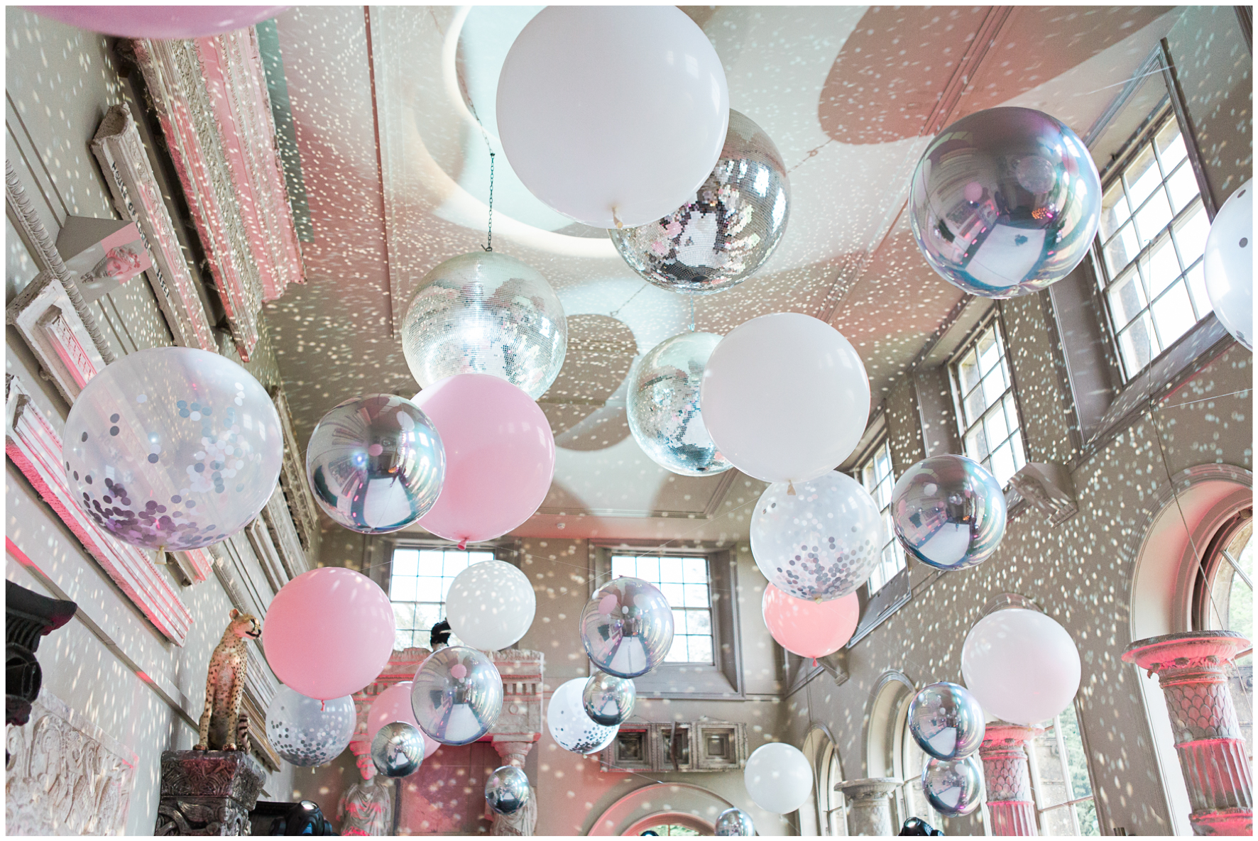 Aynhoe Park orangery, balloon covered ceiling, Bubblegum Balloons