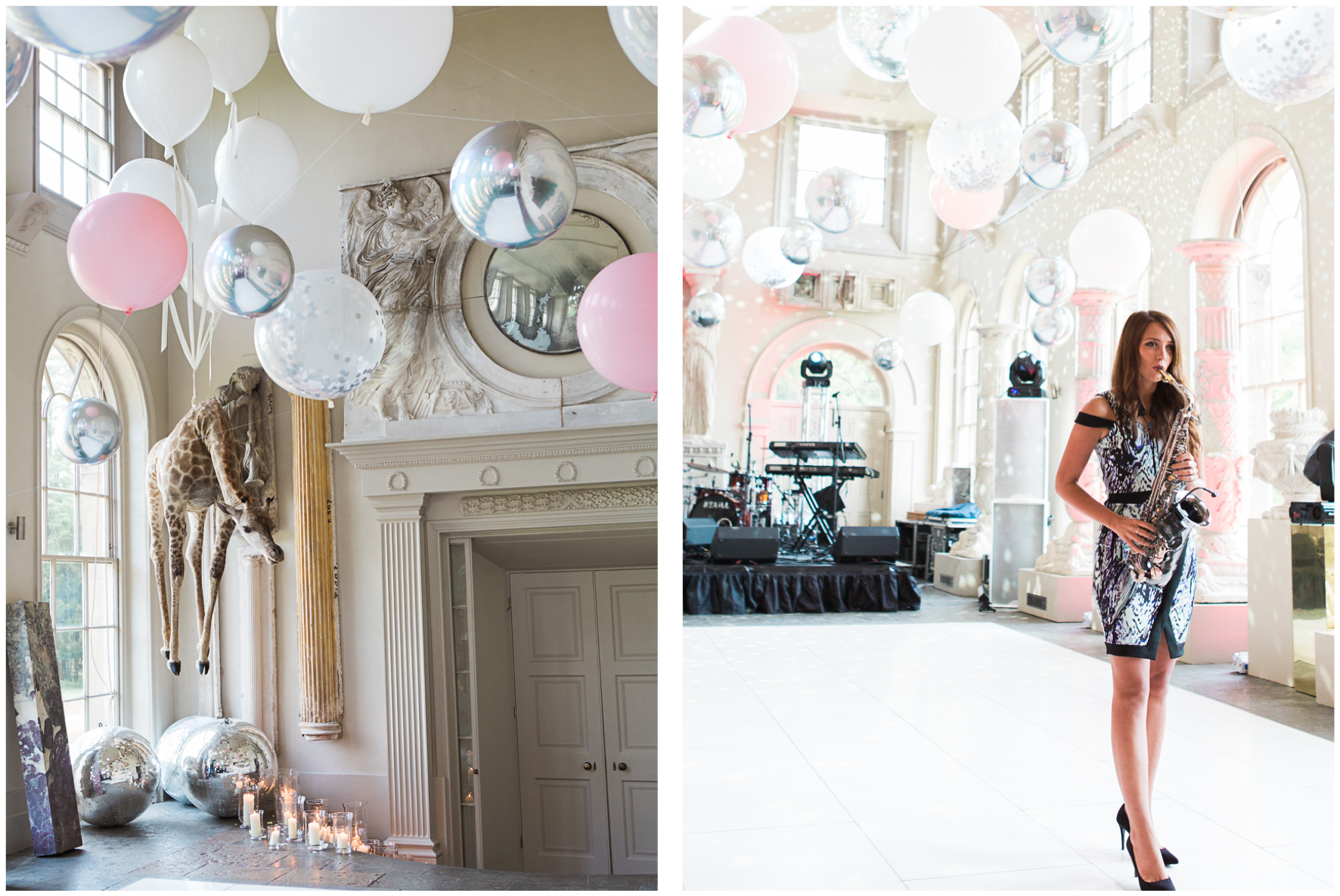 Aynhoe Park orangery, balloon covered ceiling, Bubblegum Balloons, saxophonist