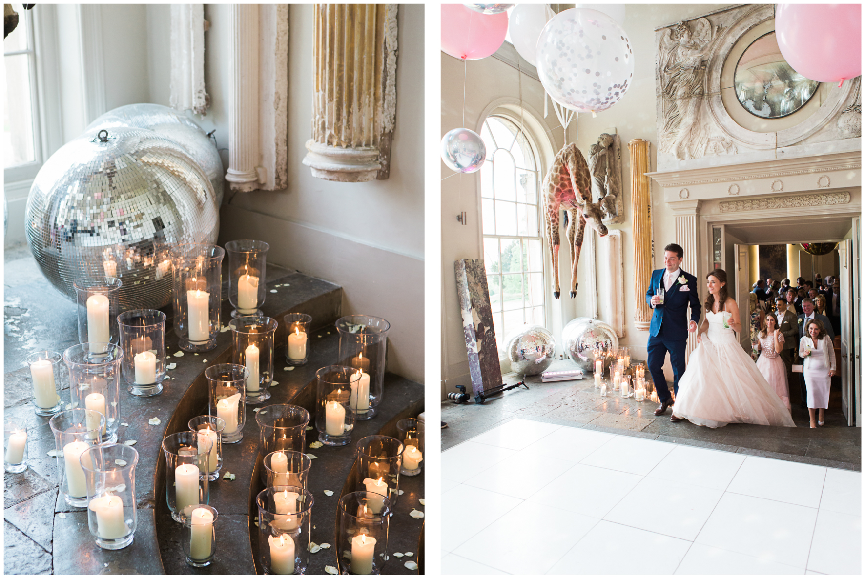 Aynhoe Park orangery, balloon covered ceiling, Bubblegum Balloons, bride and groom