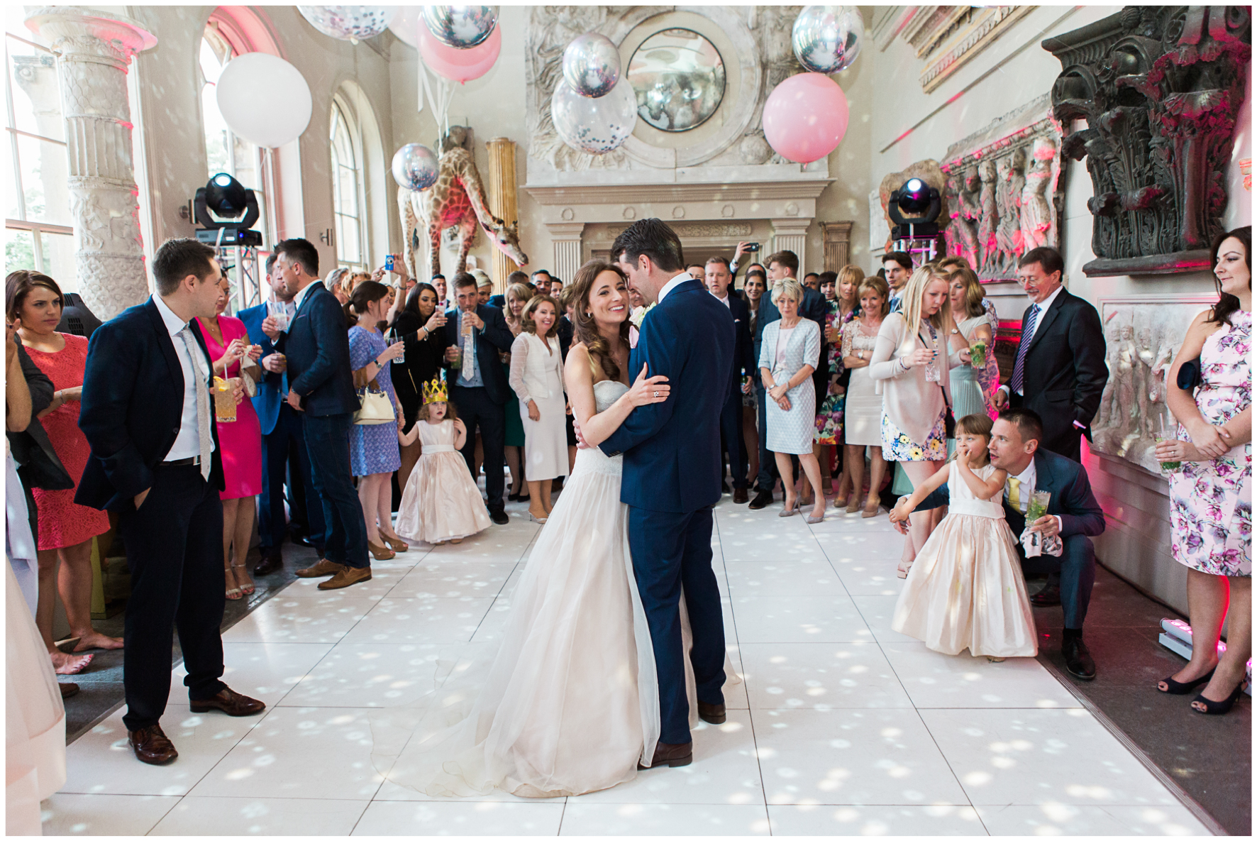 Aynhoe Park orangery, balloon covered ceiling, Bubblegum Balloons, bride and groom first dance
