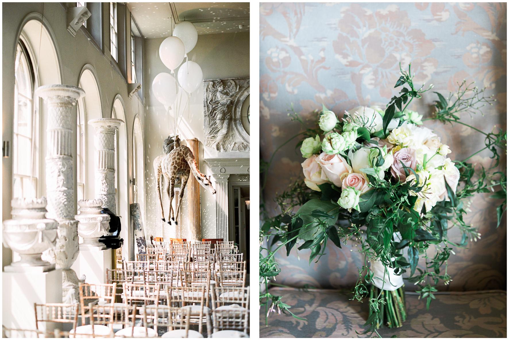 Aynhoe Park orangery, bridal bouquet
