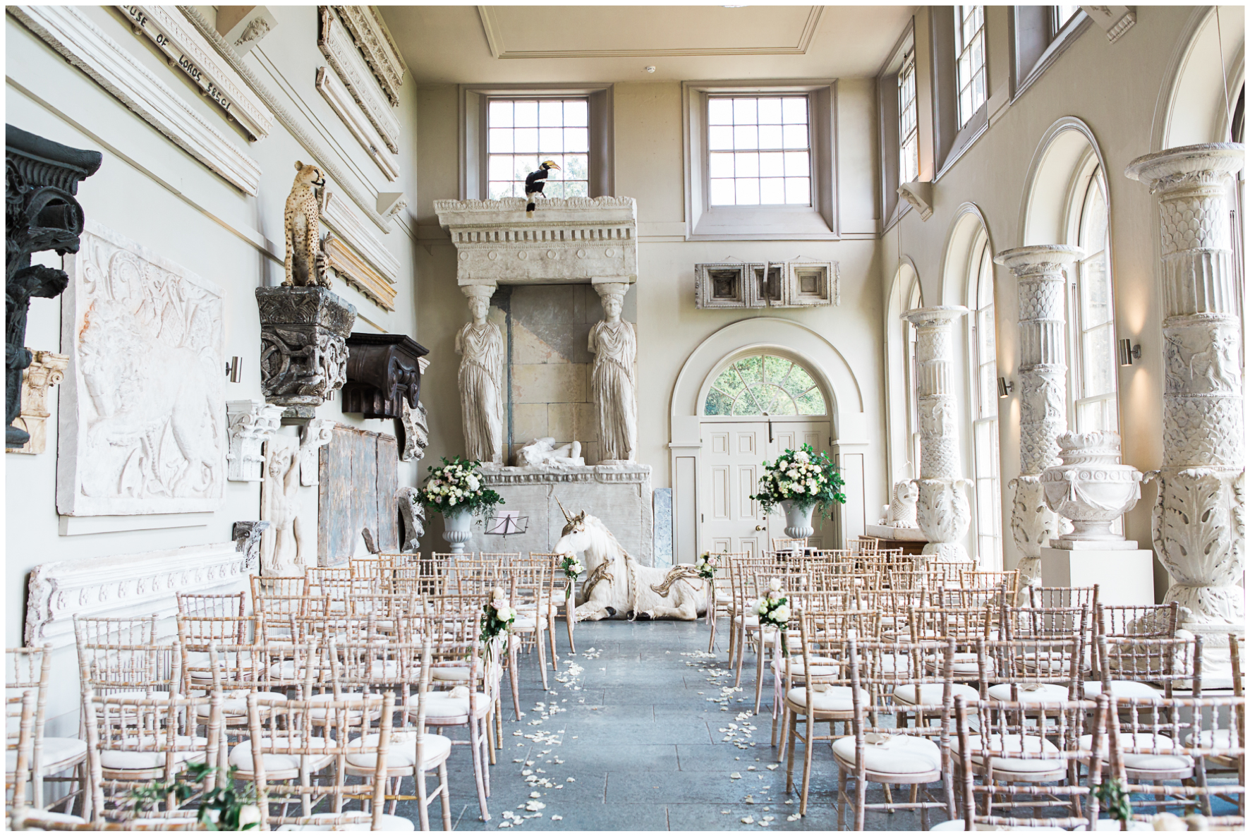 Aynhoe Park orangery, wedding ceremony