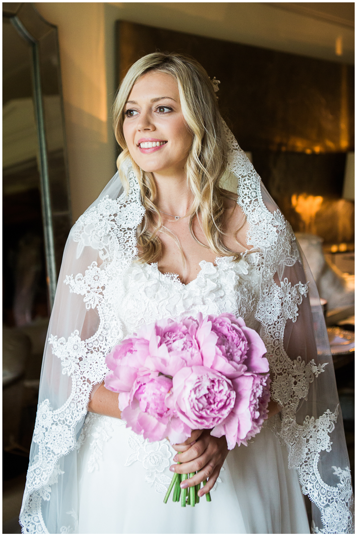 Aynhoe Park, bride wearing wedding dress, veil, peony bouquet