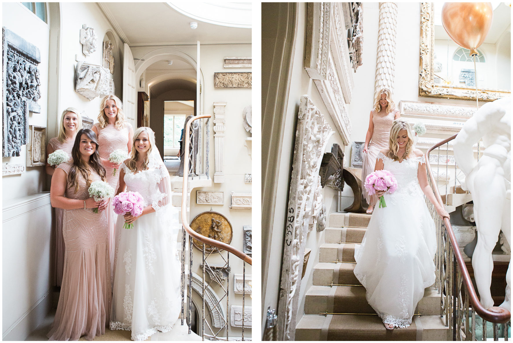 Aynhoe Park, bride and bridesmaids