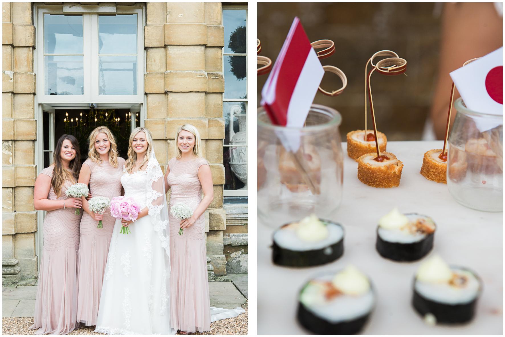 Aynhoe Park orangery, bride with bridesmaids, canapés