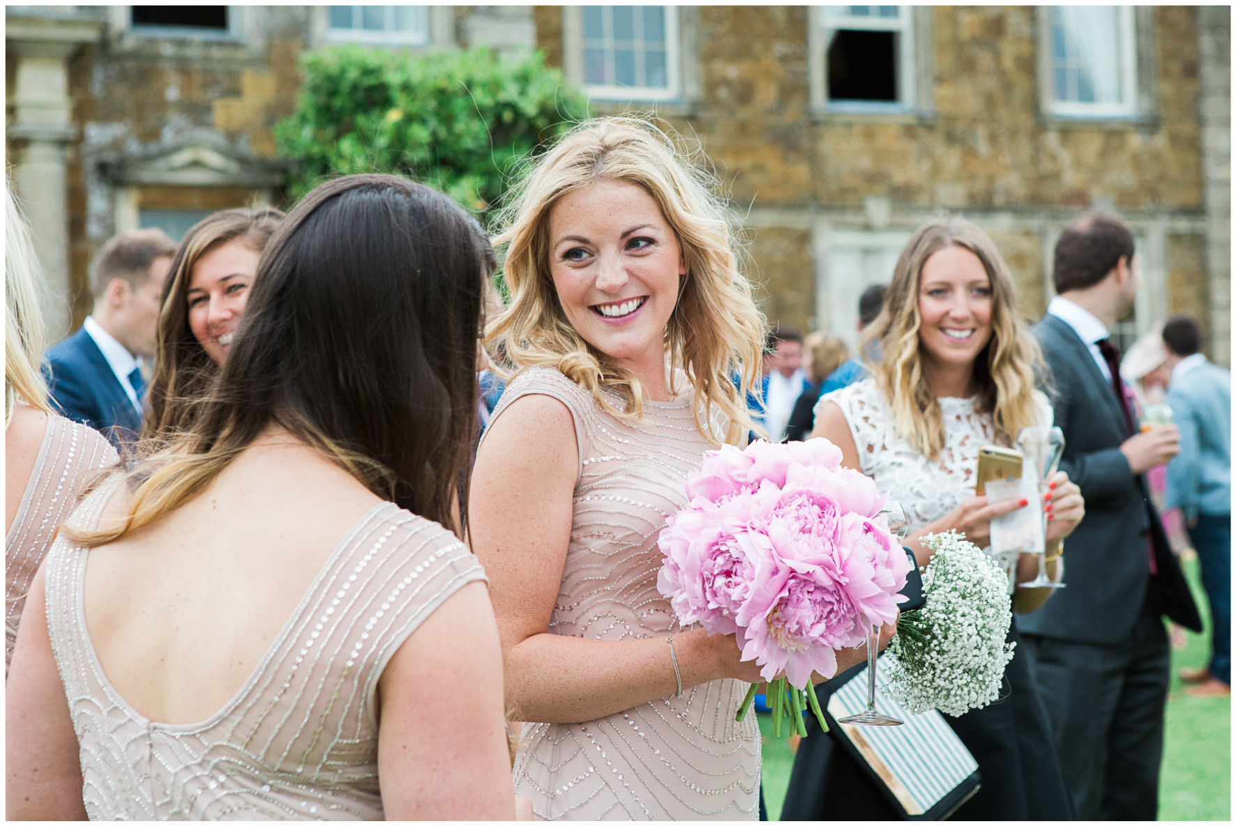 Aynhoe Park wedding, wedding guests, bridesmaid