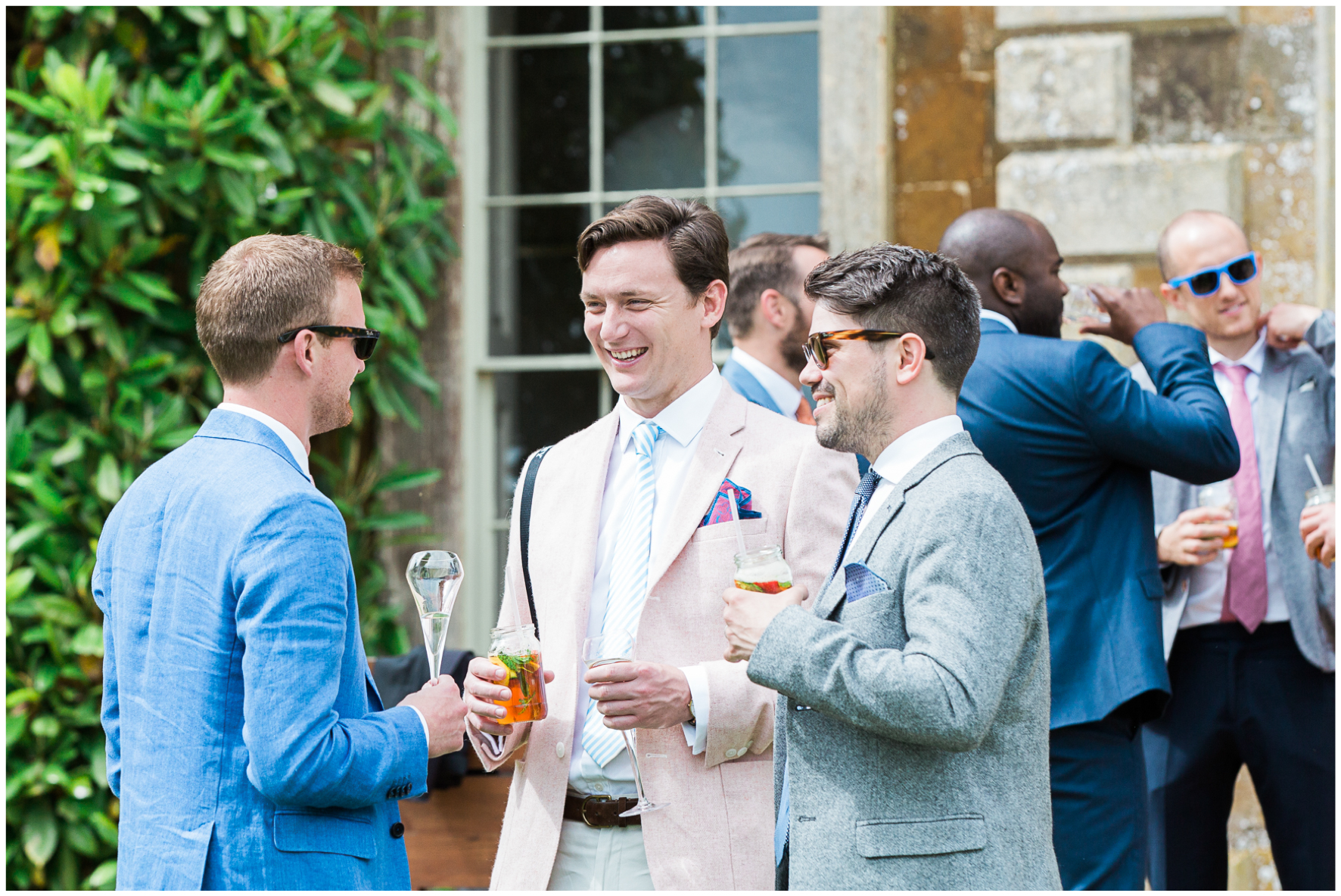 Aynhoe Park wedding, wedding guests, drinks reception