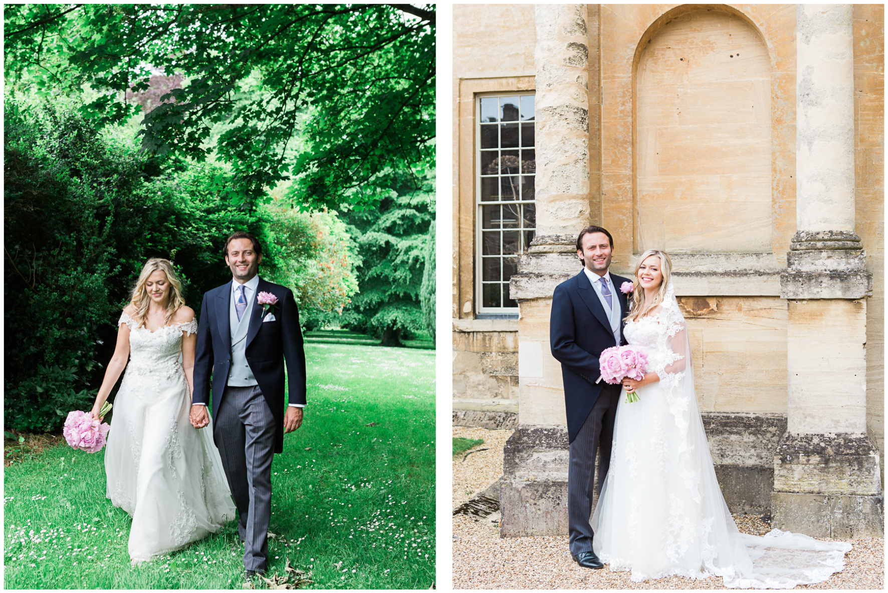Aynhoe Park wedding, bridal couple