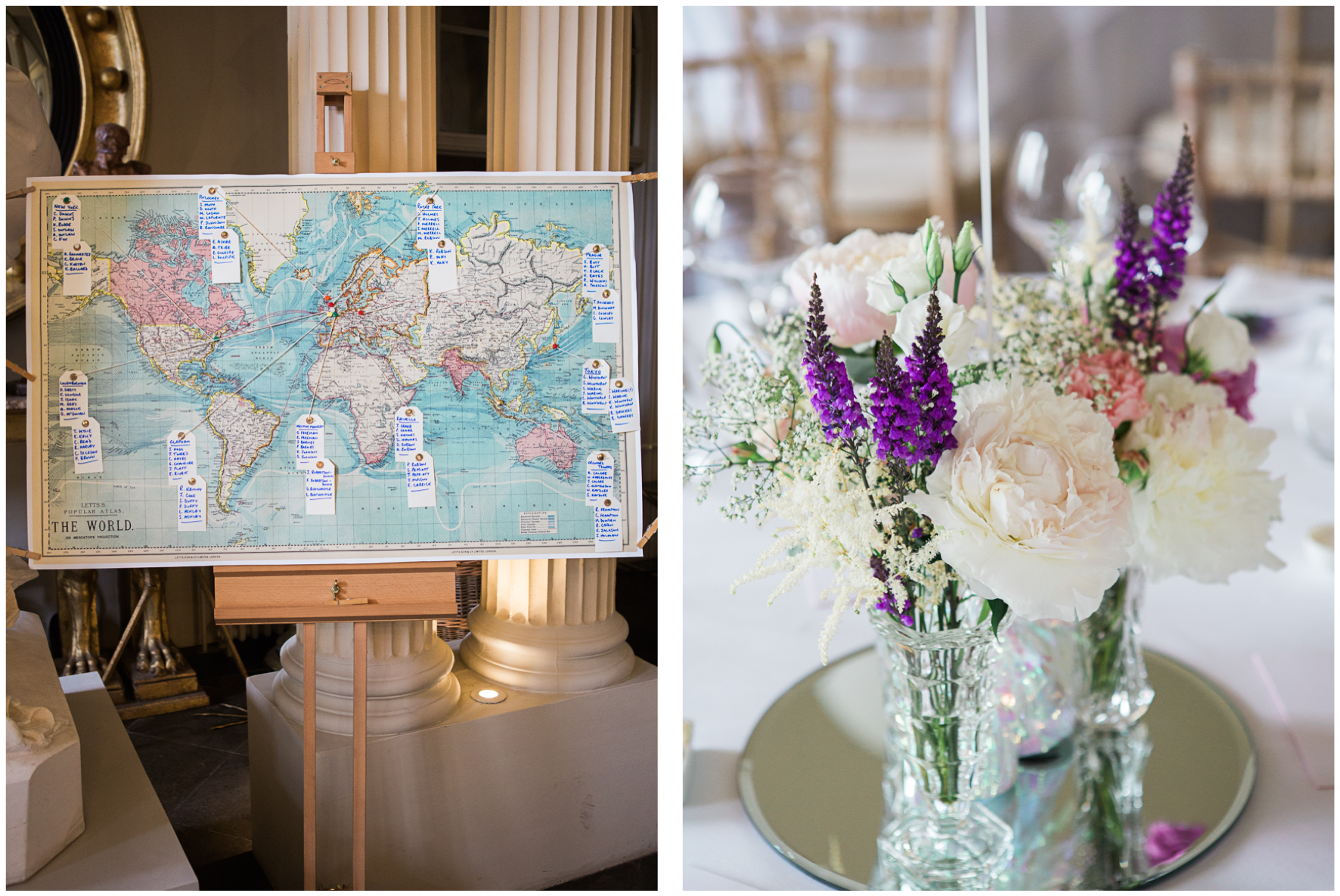 Aynhoe Park wedding, table plan, world map table plan, floral centrepiece