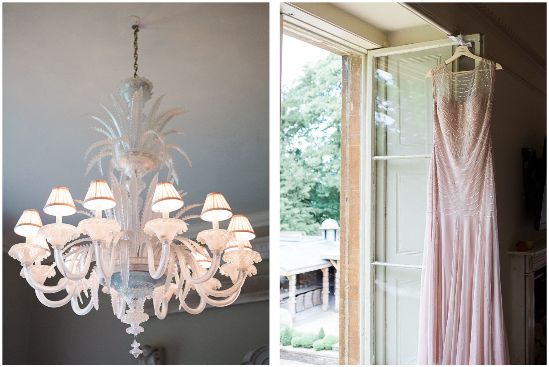 Pink bridesmaid dress, chandelier