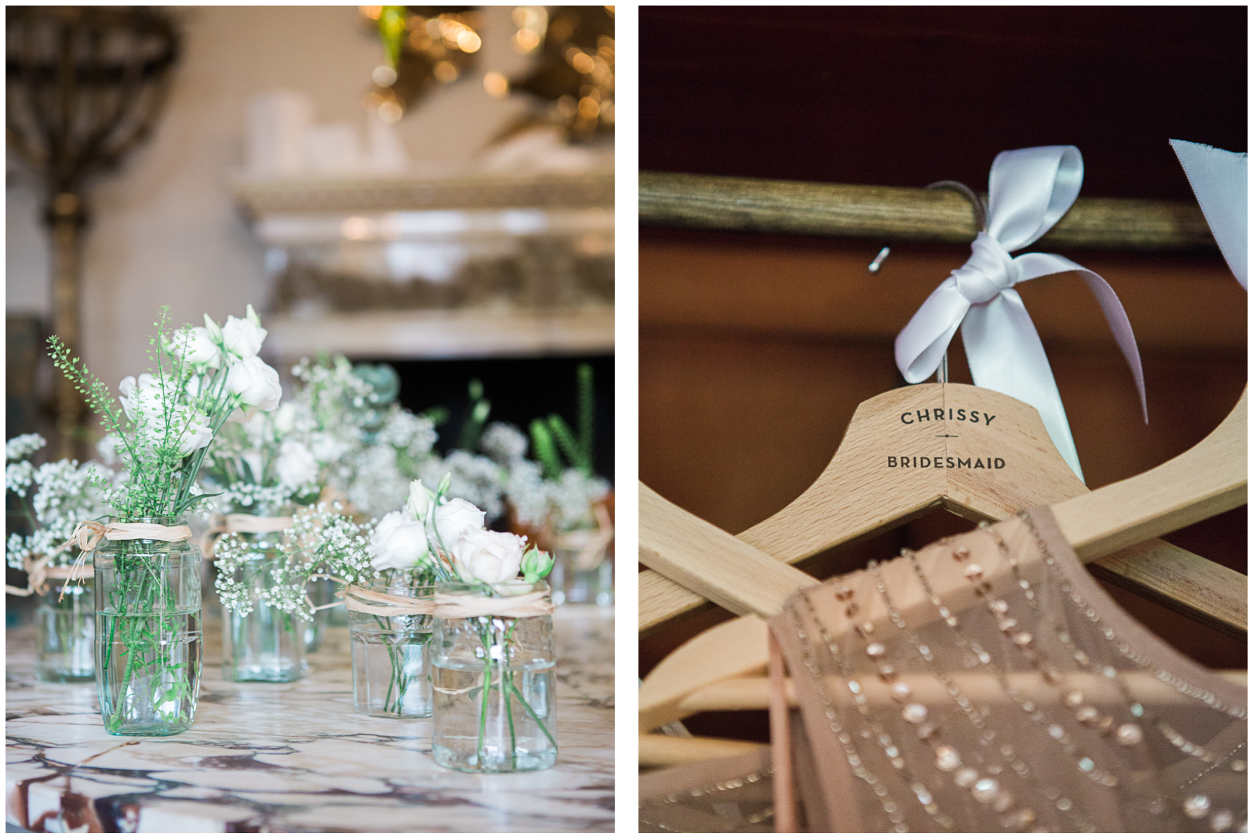 Lucy Davenport Photography, Aynhoe Park, florals, personalised hangers