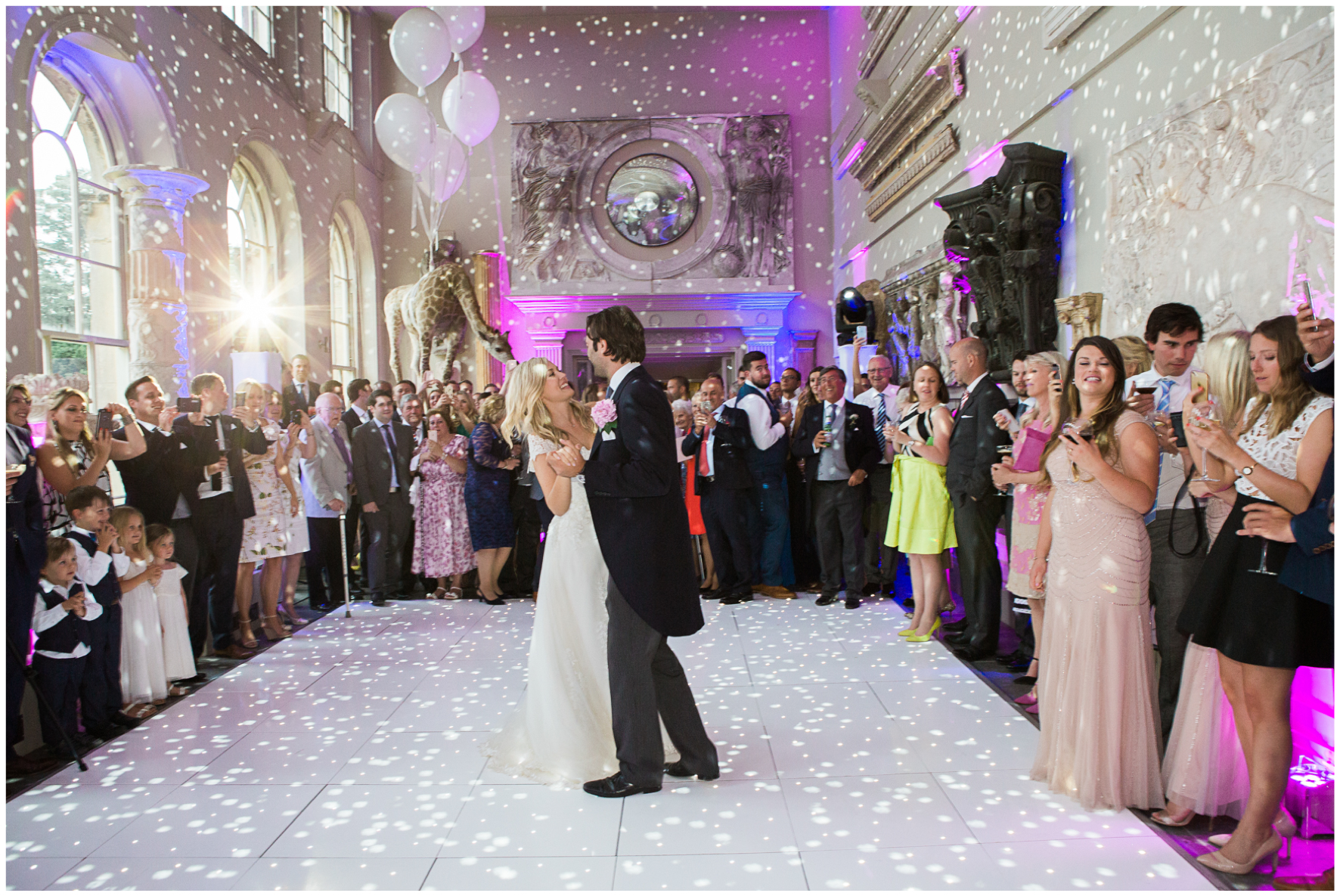 Aynhoe Park, wedding, orangery, first dance, disco balls,