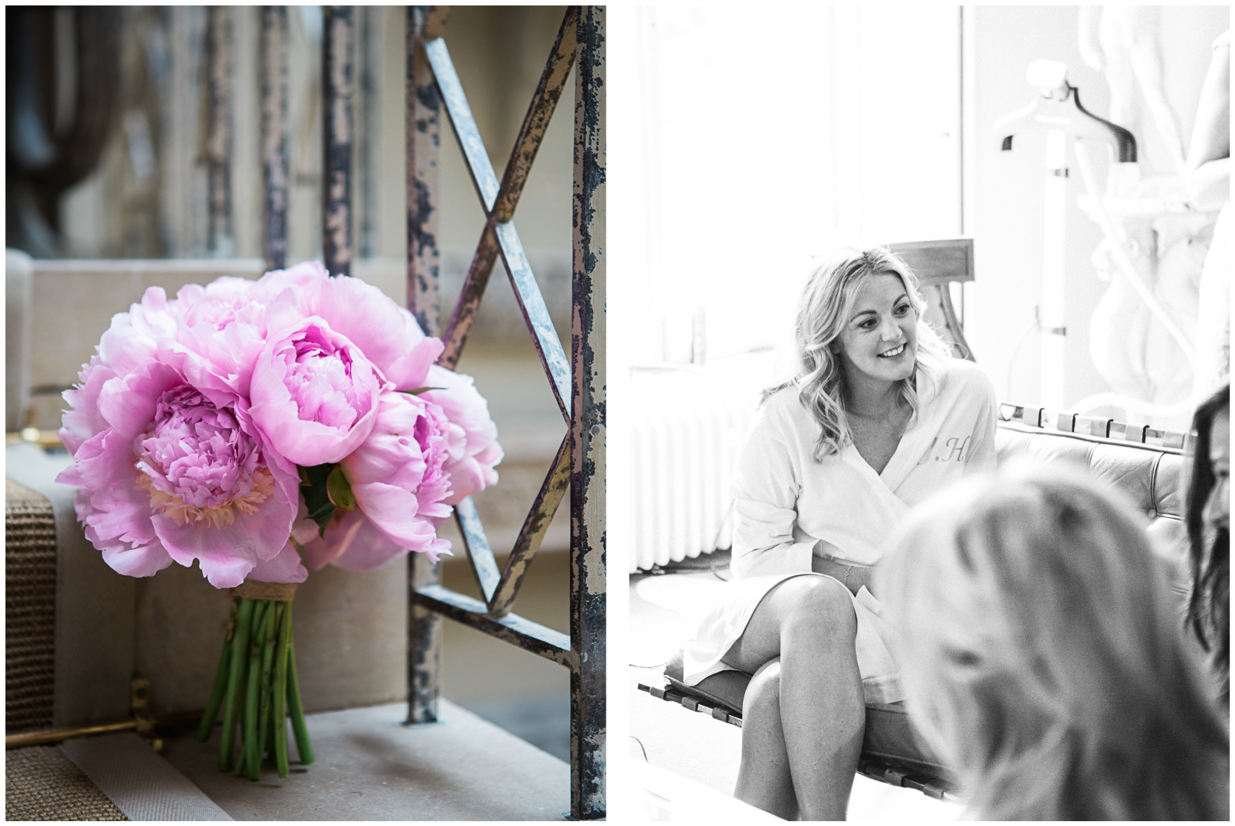 Lucy Davenport Photography, Aynhoe Park, girls getting ready, peony bridal bouquet