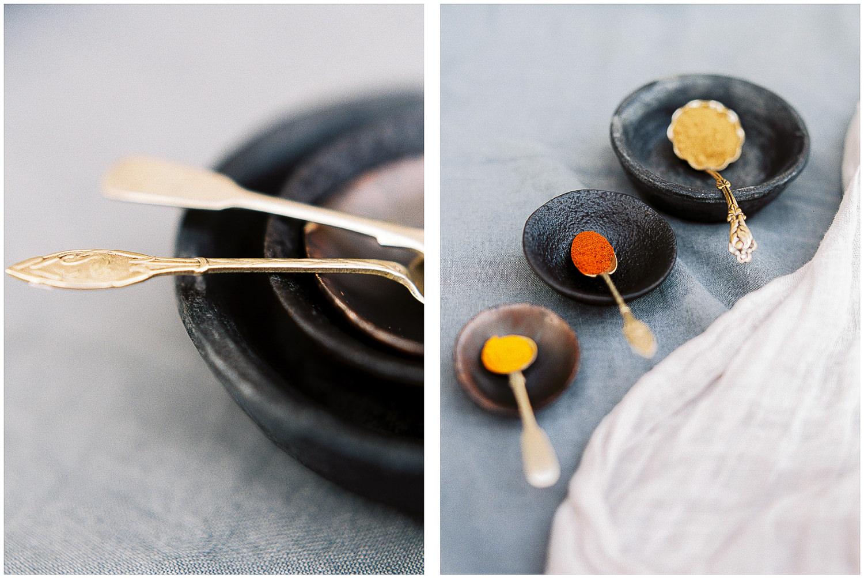 spice pots, antique spoons