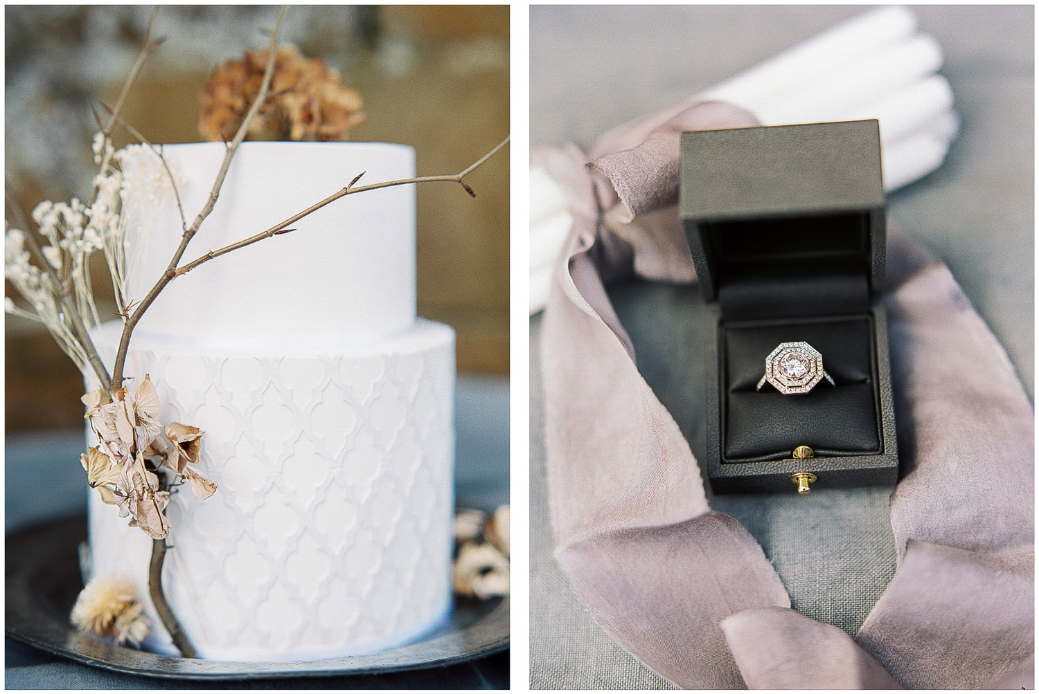 Minimal geometric cake, dried flowers, antique engagement ring