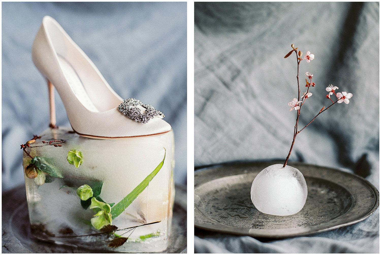 Manolo Blahnik, wedding shoes, ice floral arrangement