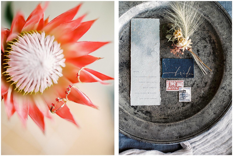 ruby rings, wedding stationery