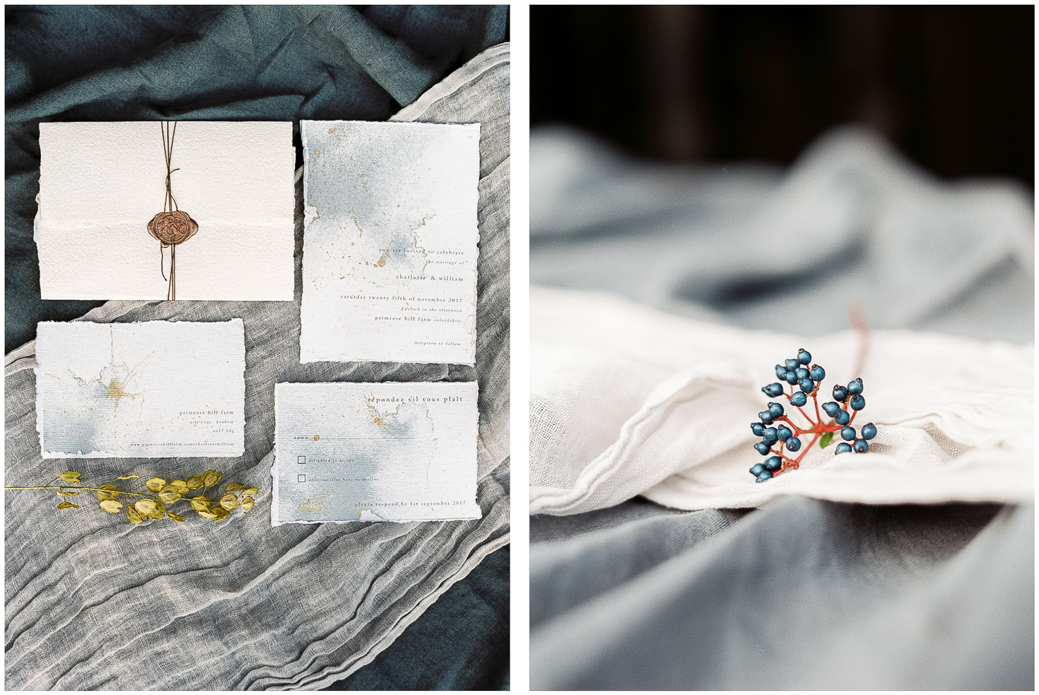 Lucy Davenport Photography, four seasons, Primrose Hill Farm, wedding stationery, linen