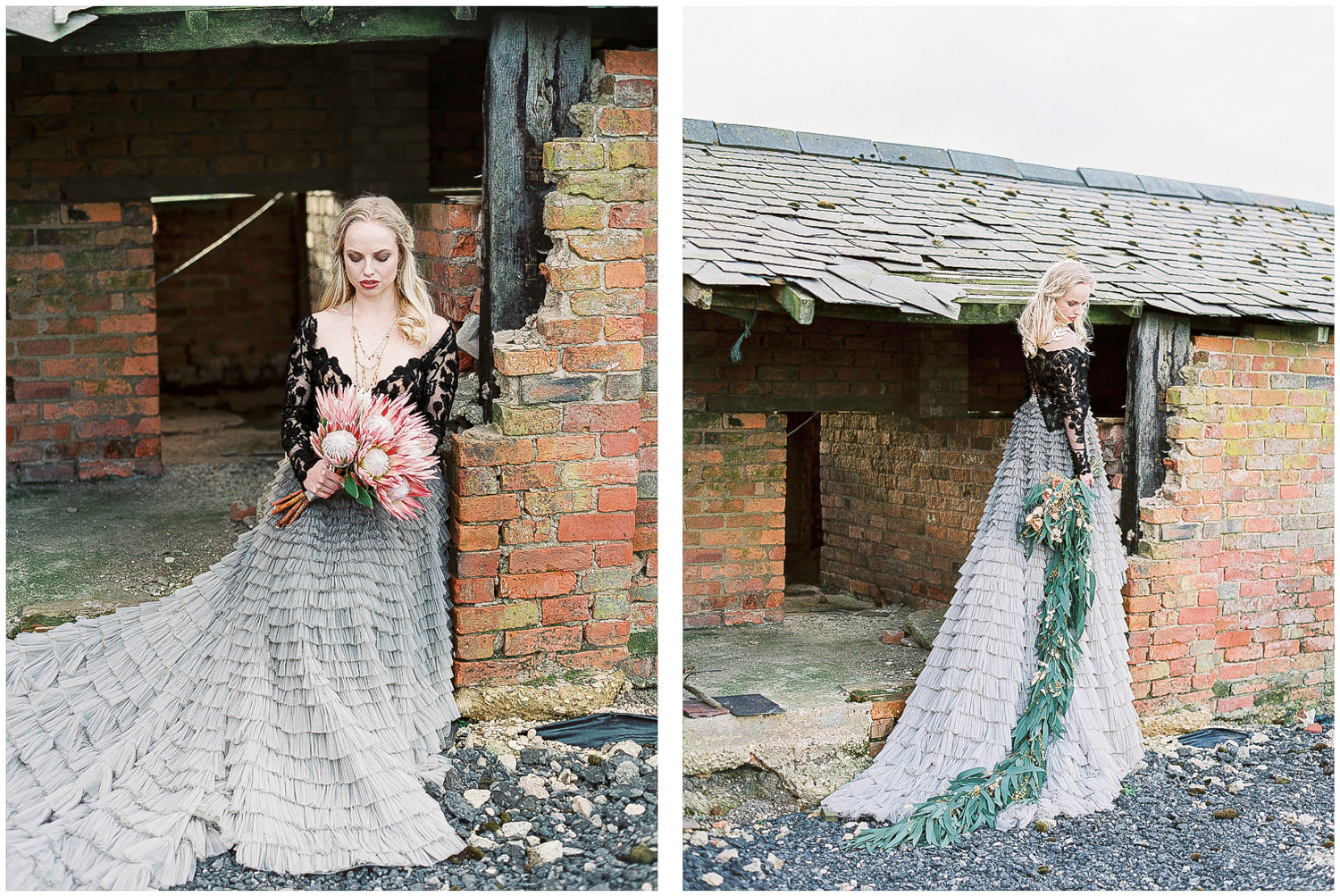 ombre skirt, cascading bouquet, bridal separates