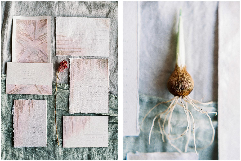 wedding stationery, pink brushed stationery
