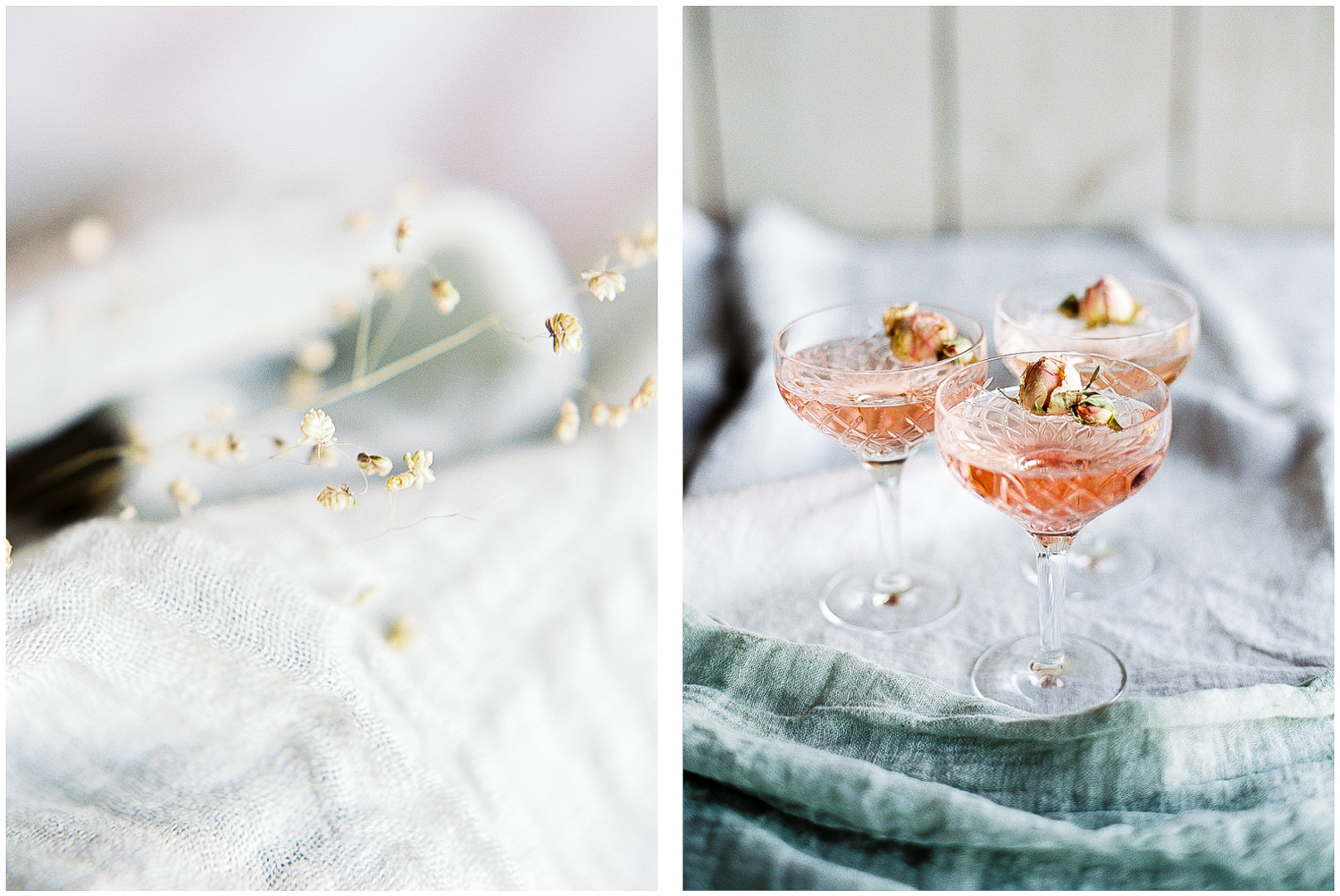 champagne, cocktails, dried flowers