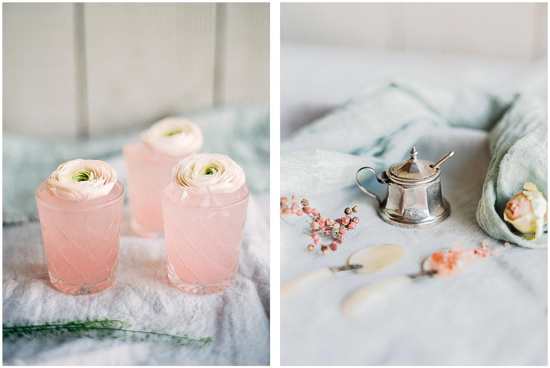 Pink cocktails, sugar pot, details