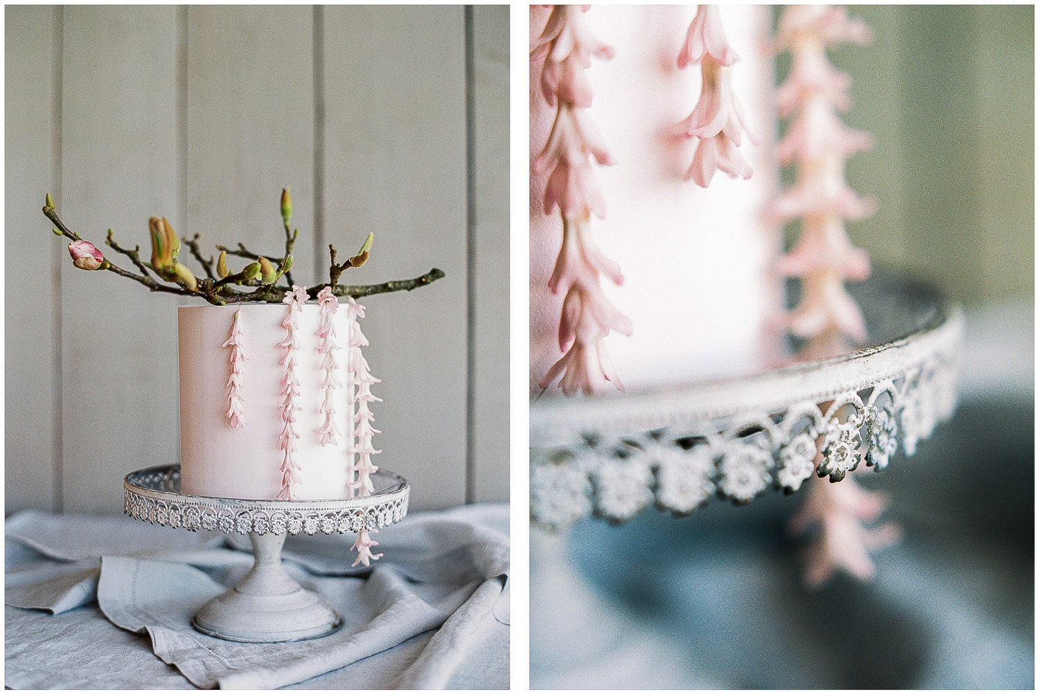 simple one tier pink cake with cascading florals