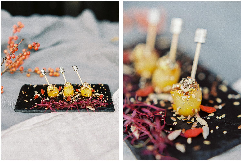 canapés, Indulgence catering, slate presented canapés