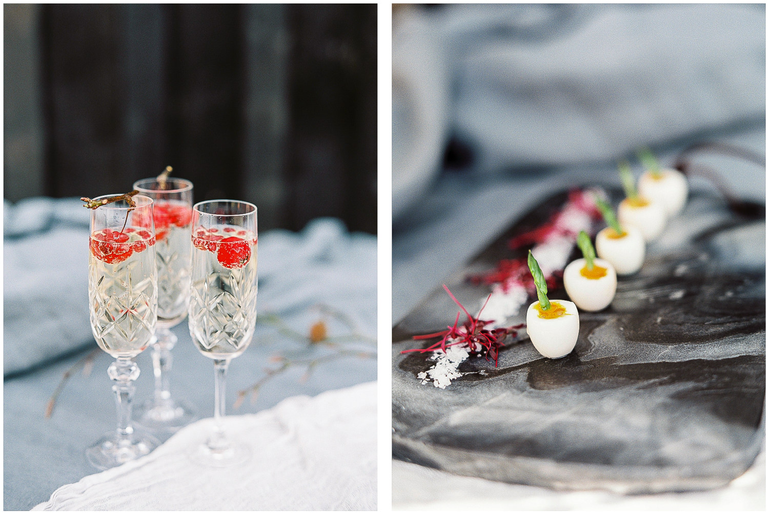 Campagne, canapés, marble serving platter