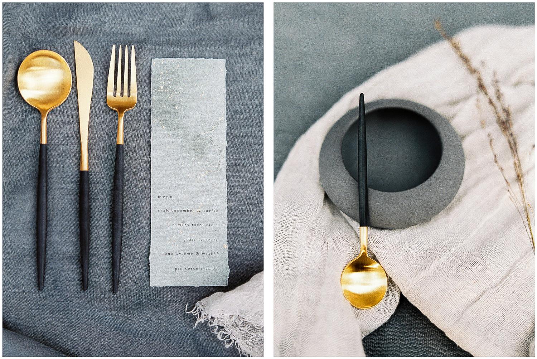 menu, wedding stationery, cutlery
