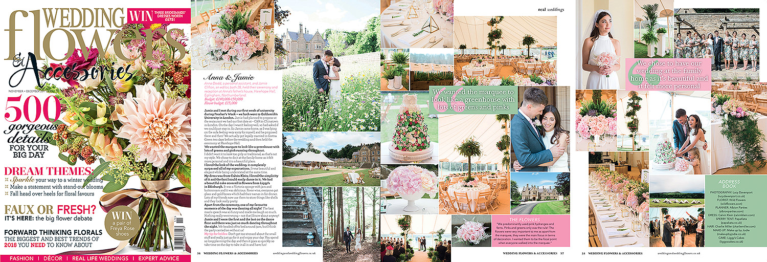 PapaKata home wedding featured in Wedding Flowers magazine