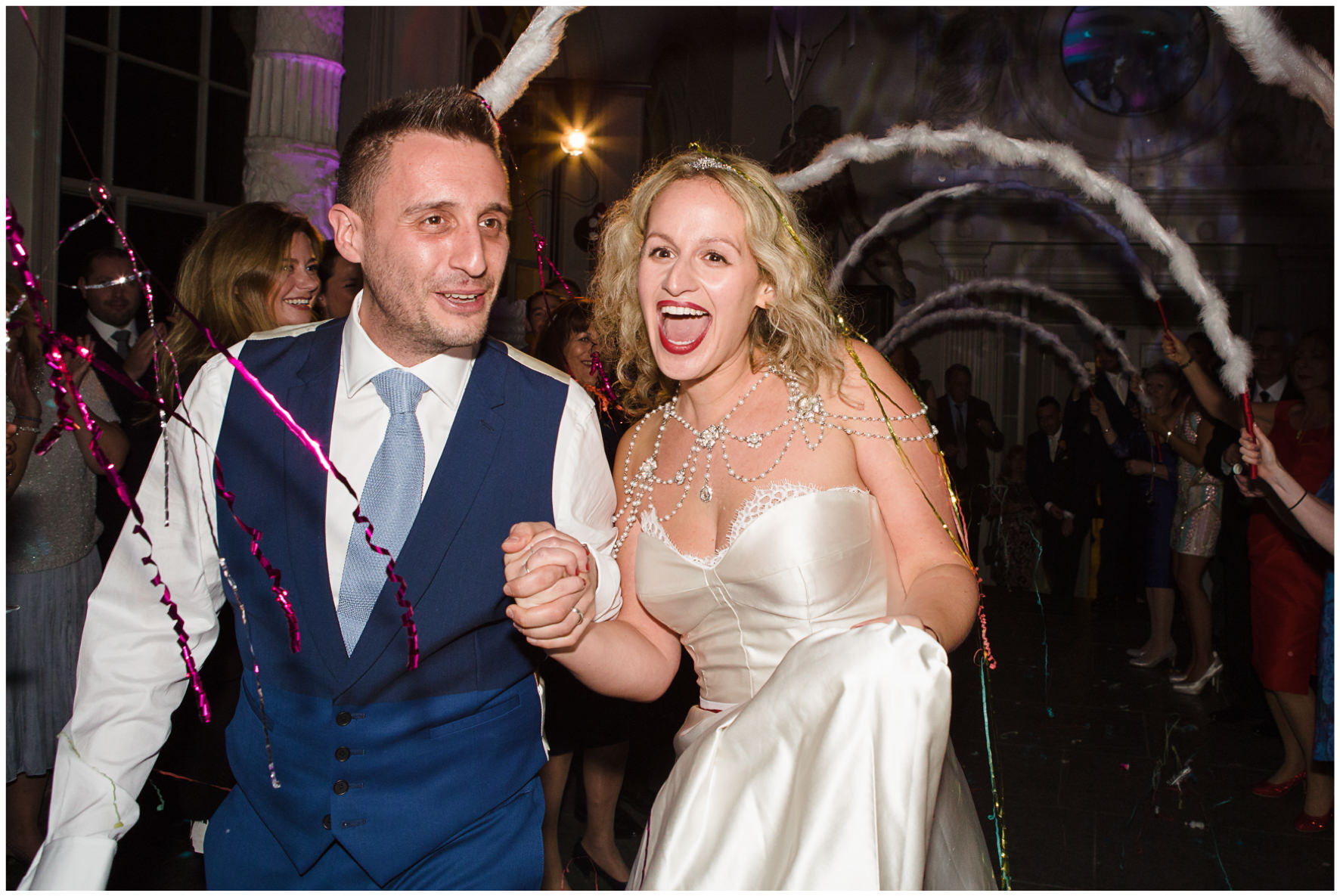 Lucy Davenport Photography, Aynhoe Park, colourful balloon, Rock n Roll Bride, Rock n Roll Bride magazine, bride and groom, dancing, party,
