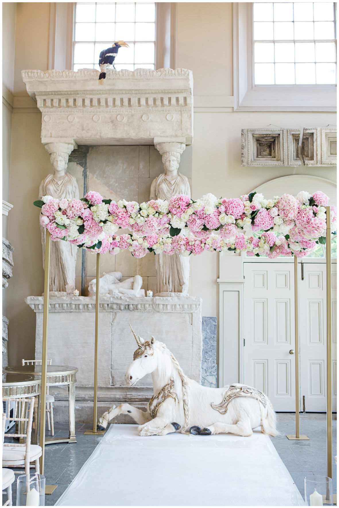 Lucy Davenport Photography, Aynhoe Park, Oxfordshire, wedding venue, Rock My Wedding, Orangery, Unicorn, floral chuppa