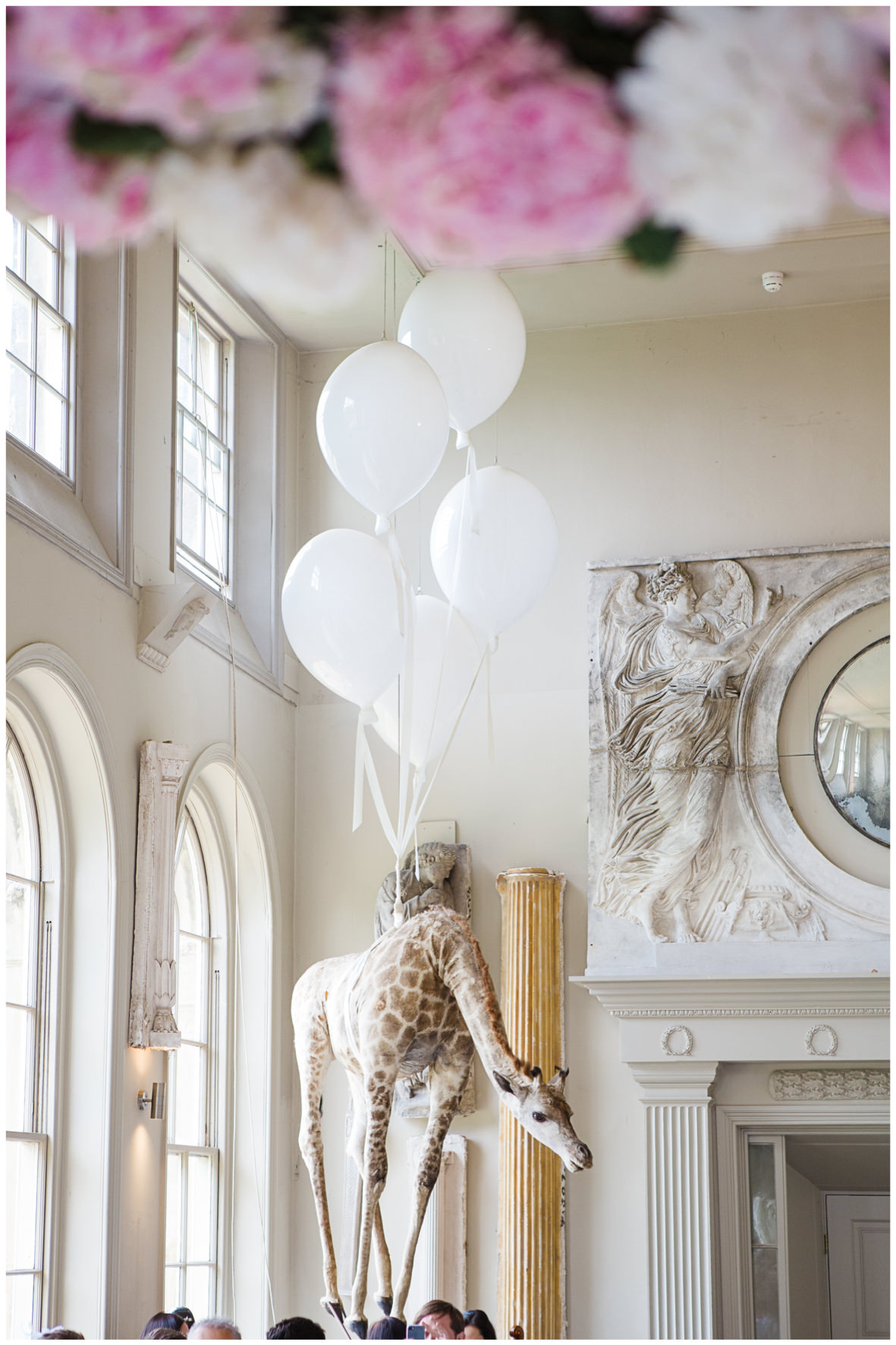 Lucy Davenport Photography, Aynhoe Park, Oxfordshire, wedding venue, Rock My Wedding, Orangery, hanging giraffe