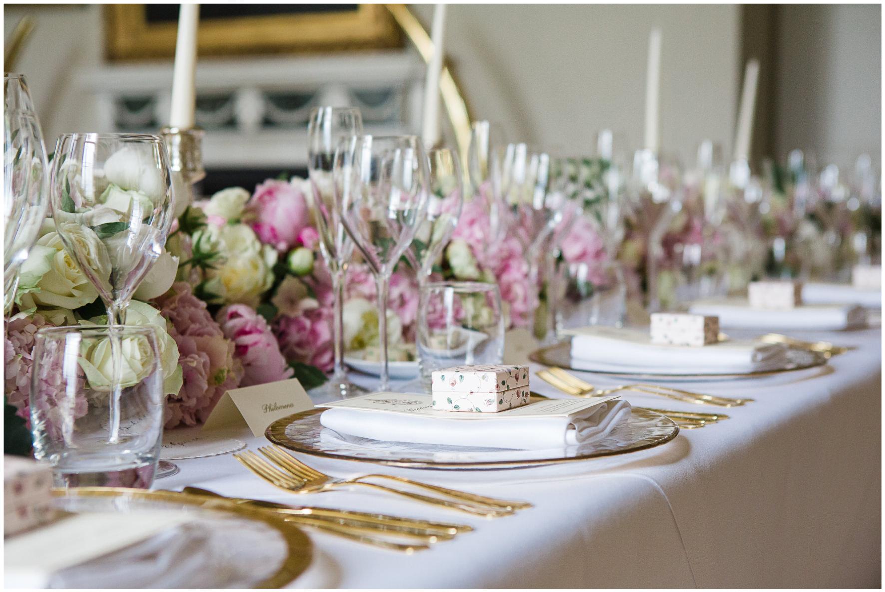 Lucy Davenport Photography, Aynhoe Park, Oxfordshire, wedding venue, Rock My Wedding, wedding breakfast, laduree favours