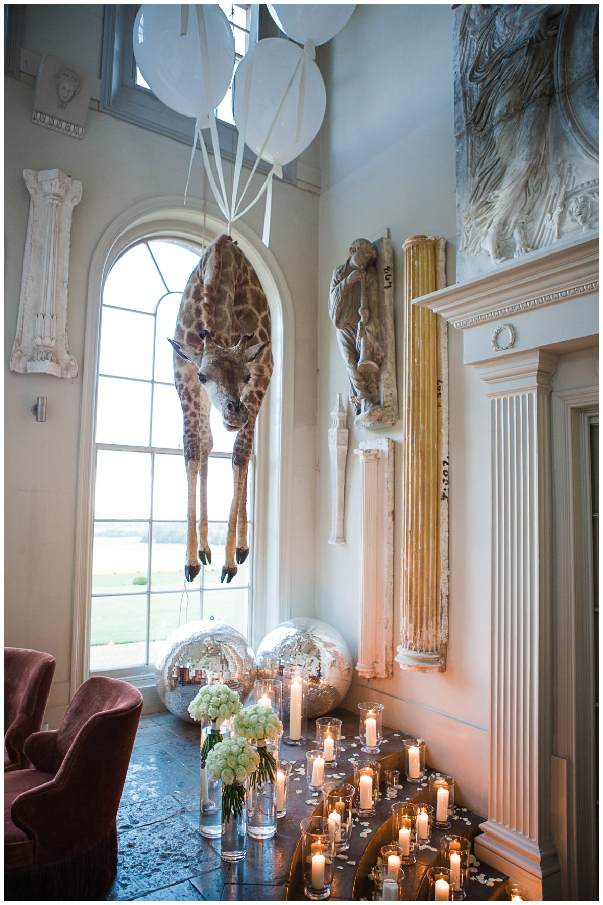 Lucy Davenport Photography, Aynhoe Park, Oxfordshire, wedding venue, Rock My Wedding, hanging giraffe
